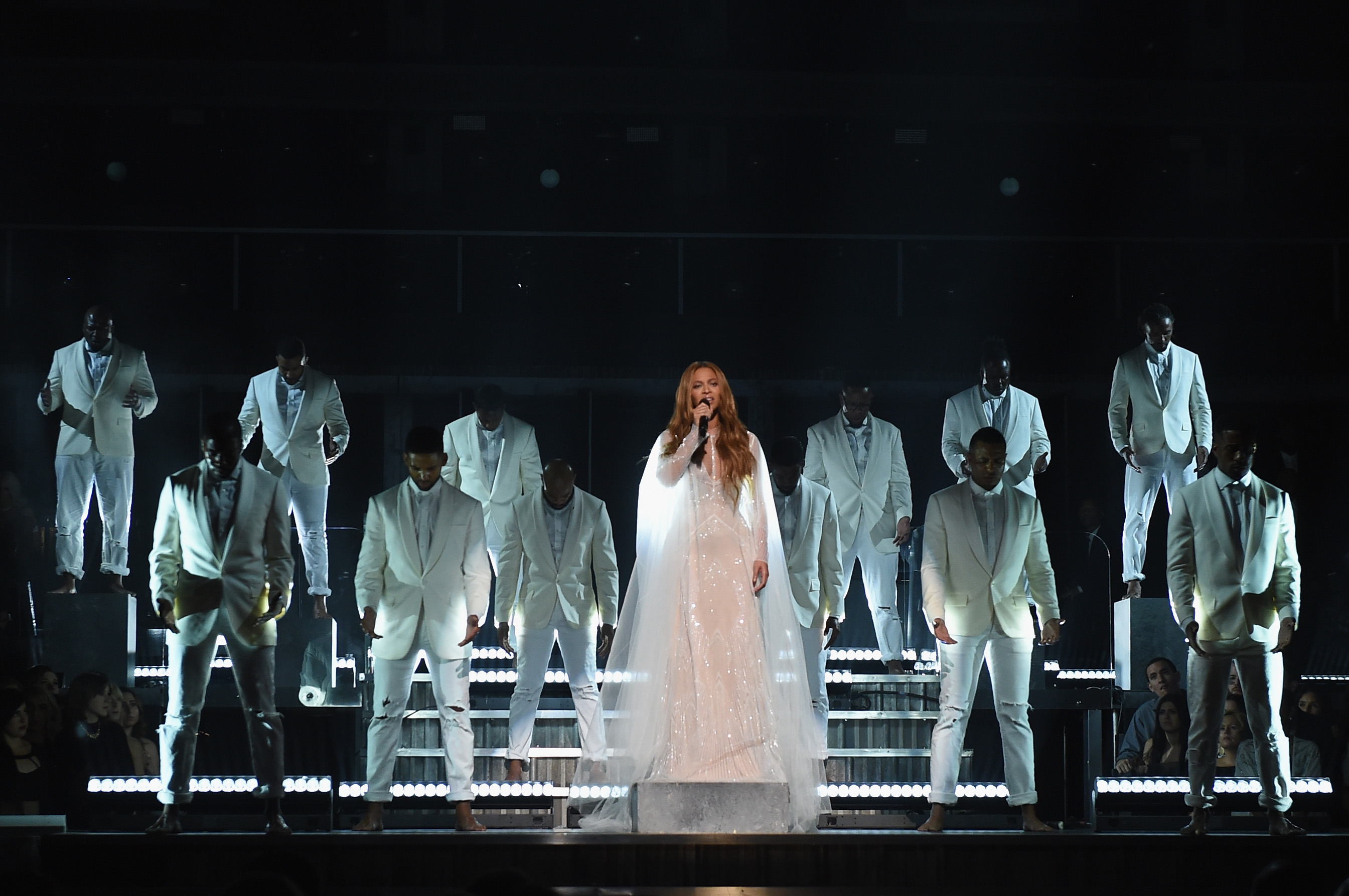 Recording Artist Beyonce performs onstage during The 57th Annual GRAMMY Awards at the STAPLES Center on February 8, 2015 in Los Angeles, California.