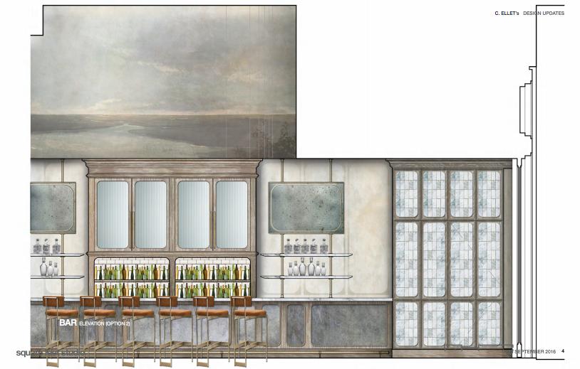 A rendering of C. Ellet's bar area.