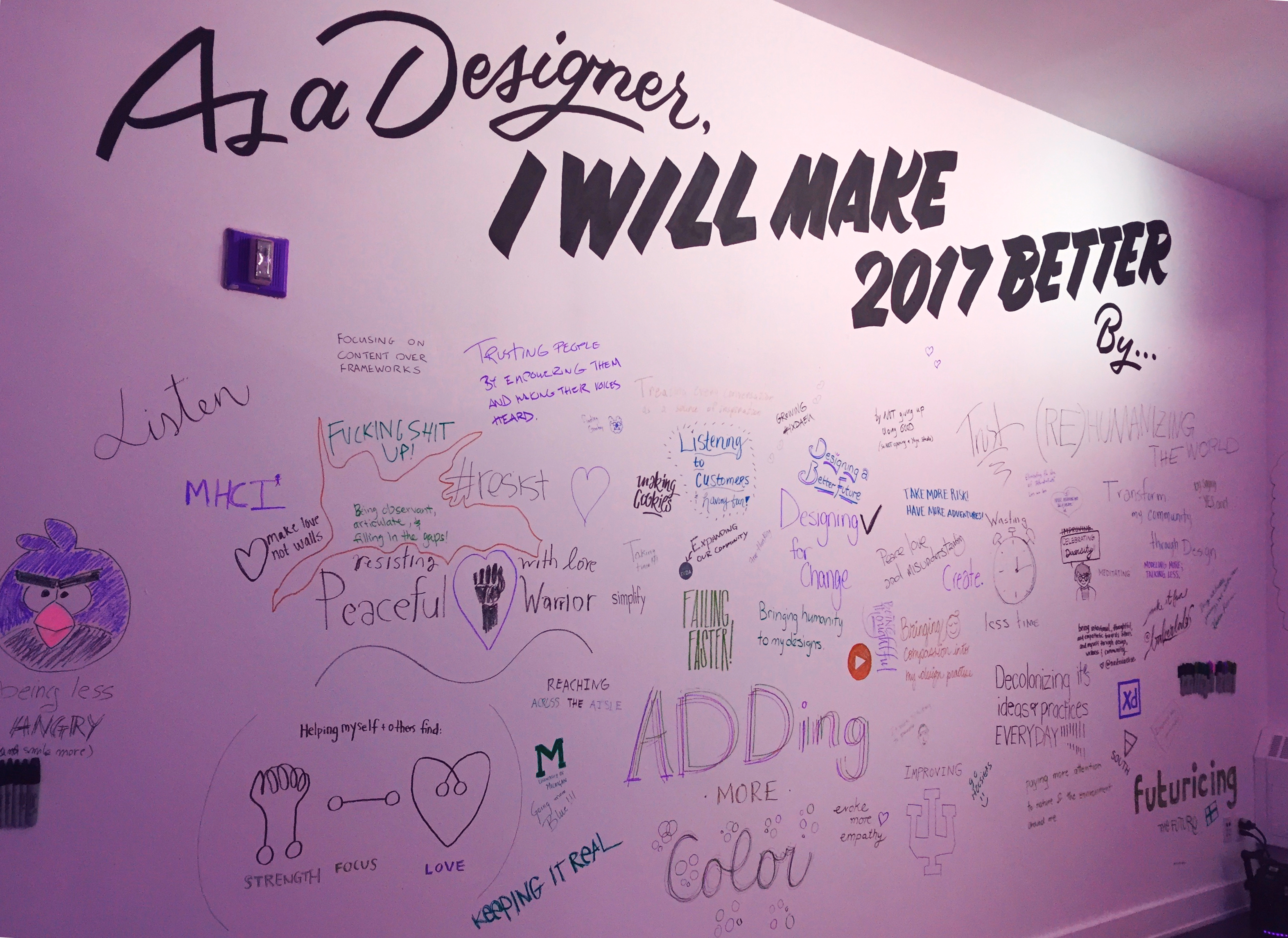 Designers write what they will do to make 2017 better.