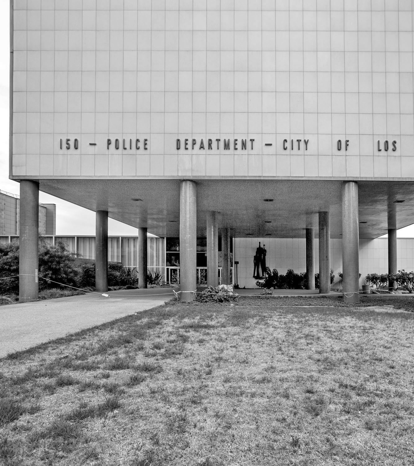 Black and white photo of Parker Center