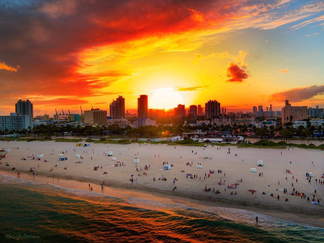 The sun setting behind Miami Beach