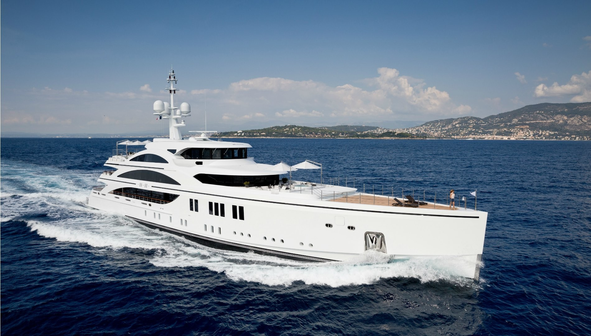 An aerial of a white superyacht