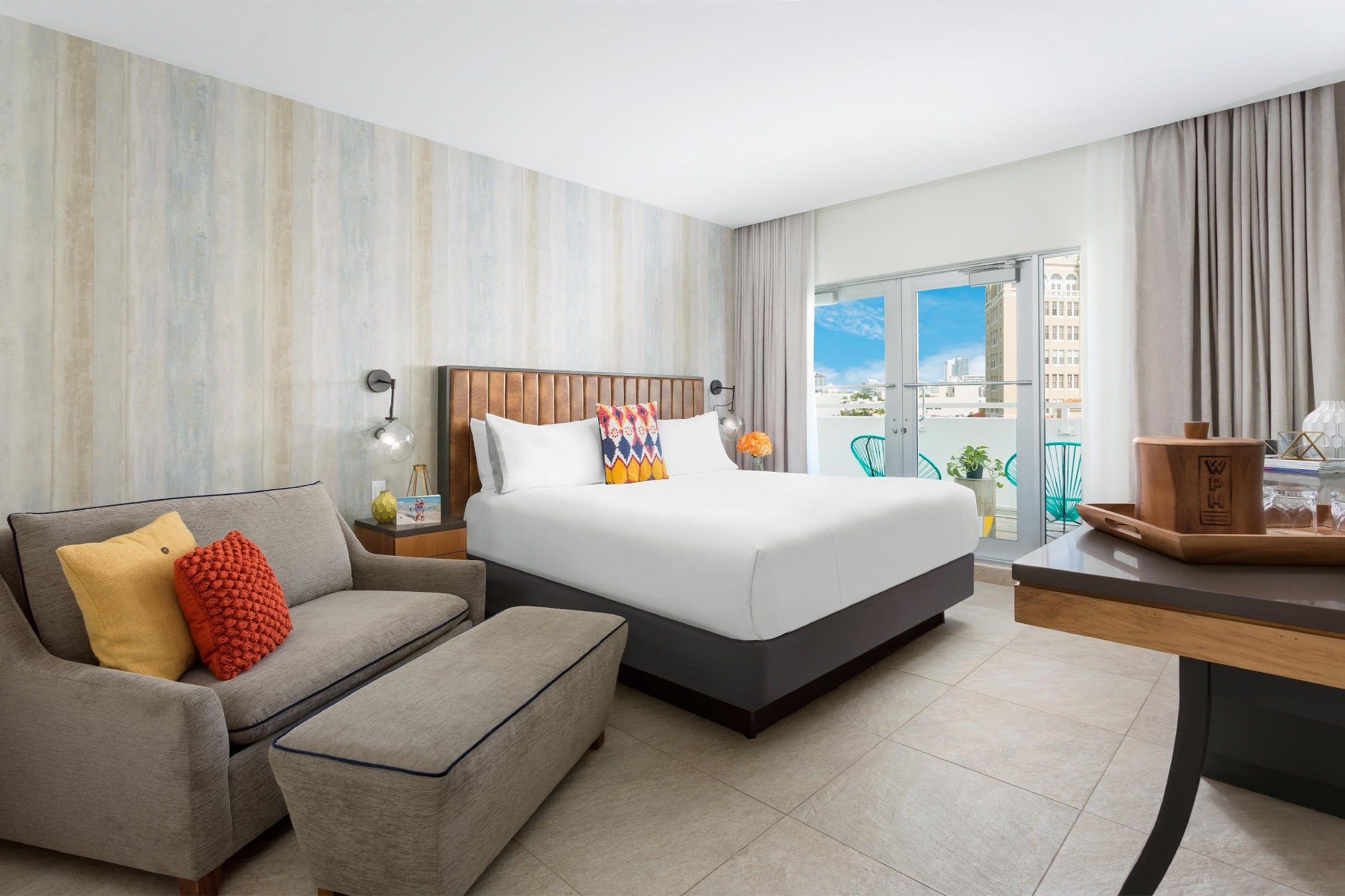 Inside a guest room at the Washington Park Hotel in Miami Beach