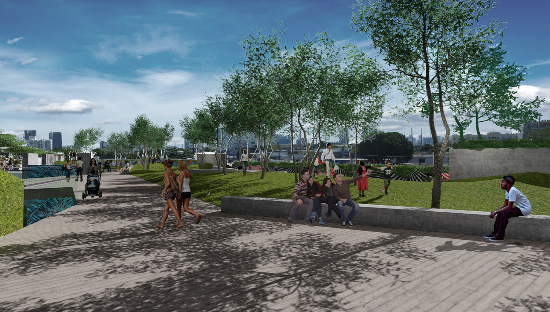 Rendering of Wynwood Park, a new green space with retail in the artsy rising neighborhood