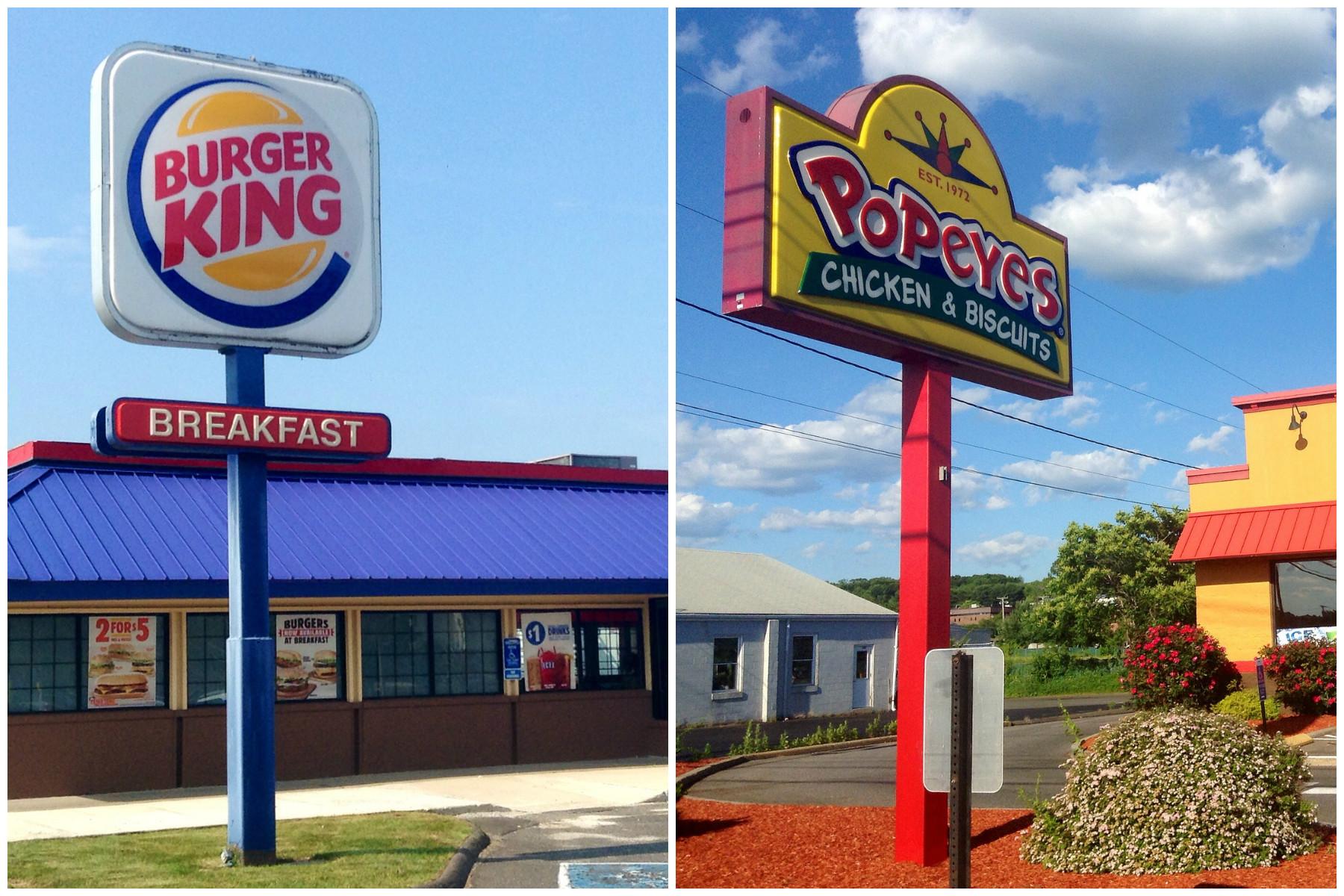 Burger King and Popeyes signs