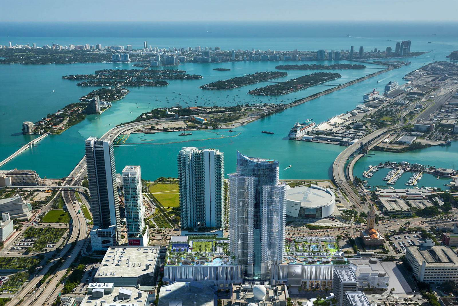 An aerial rendering of Paramount Miami Worldcenter