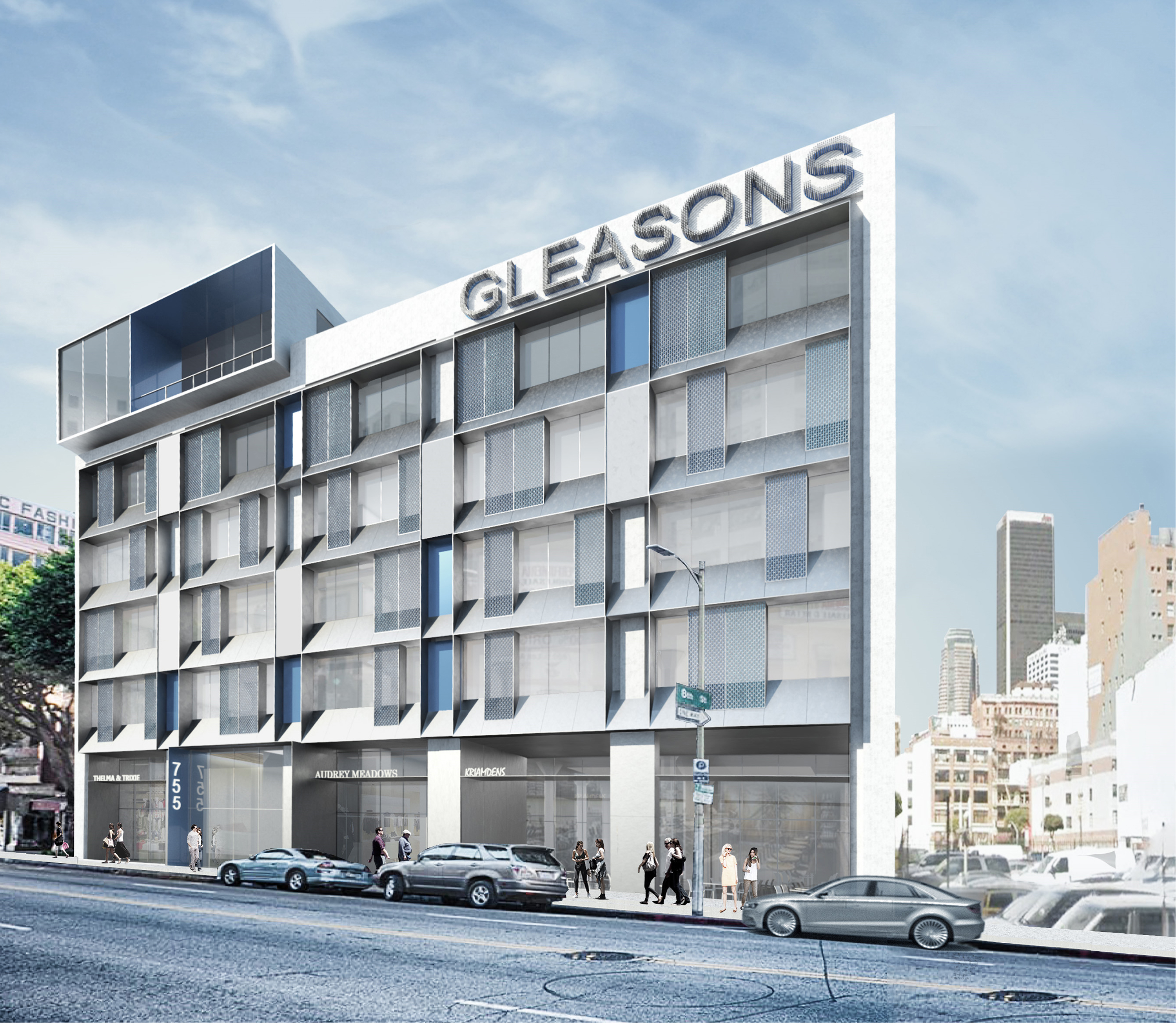 A rendering of the building with new rooftop restaurant.