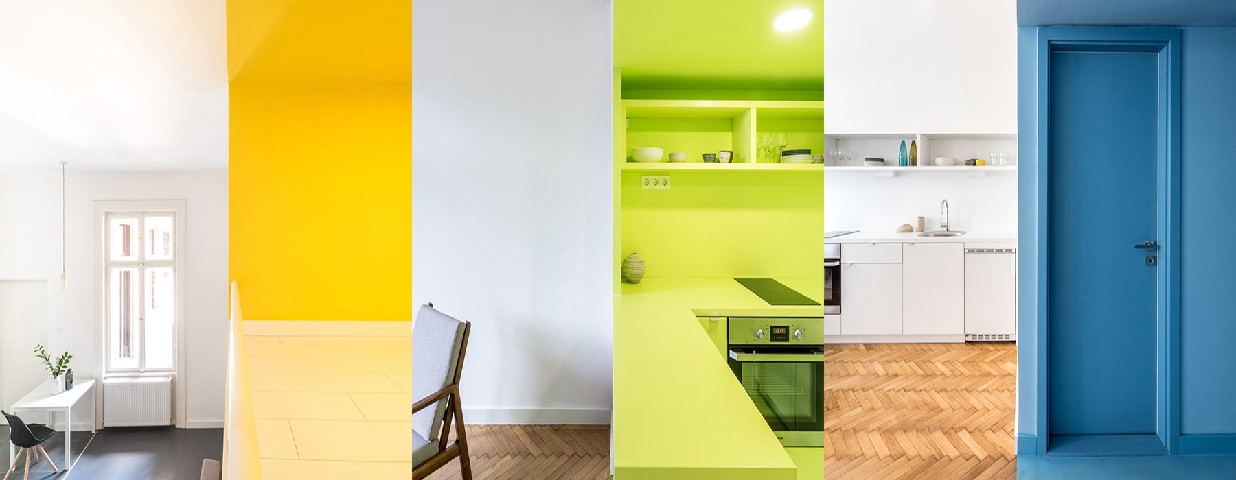 Composite image of six vertical panels showing a section of each of the three apartments and their color schemes.