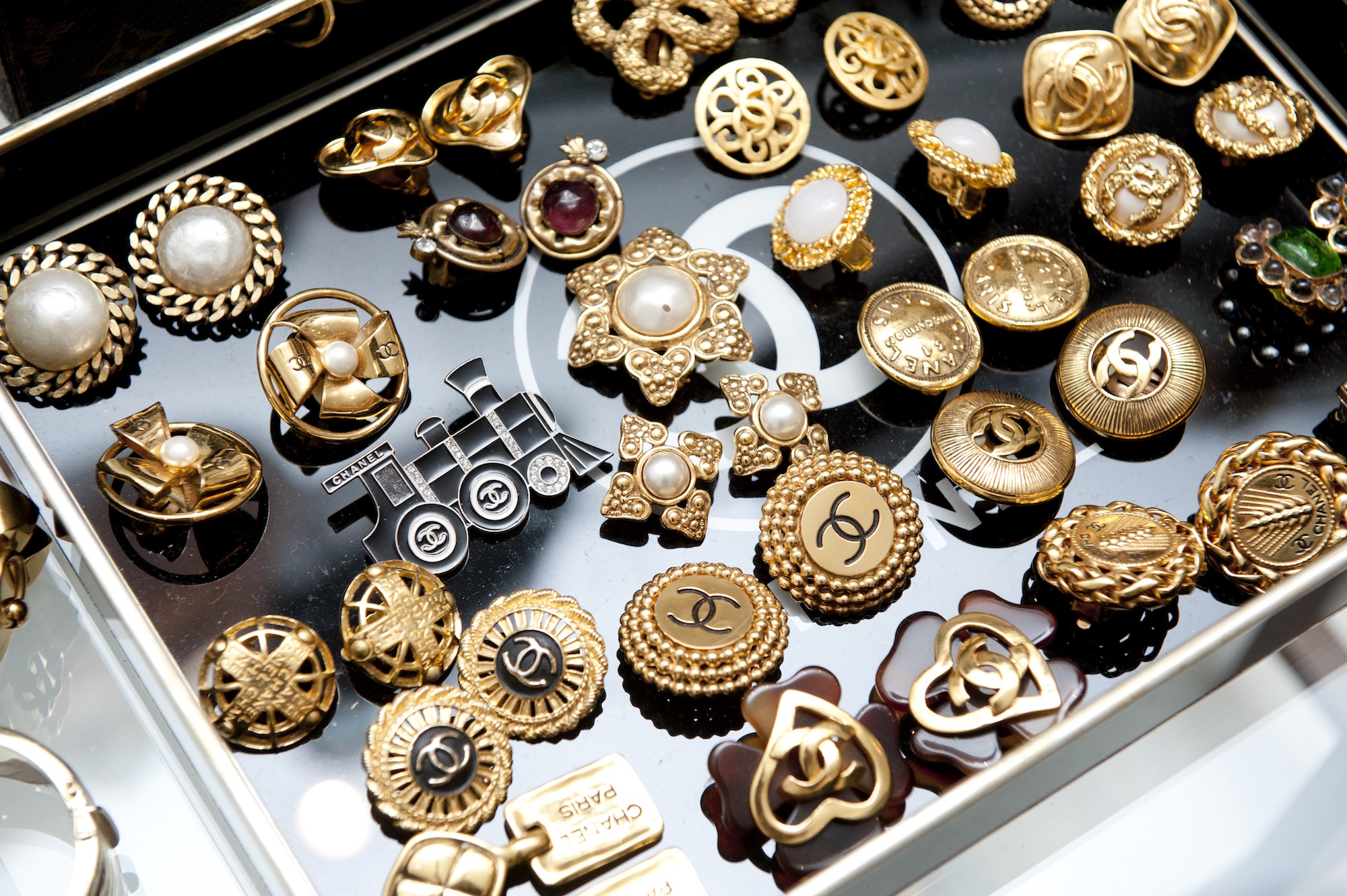 A display of vintage Chanel jewelry
