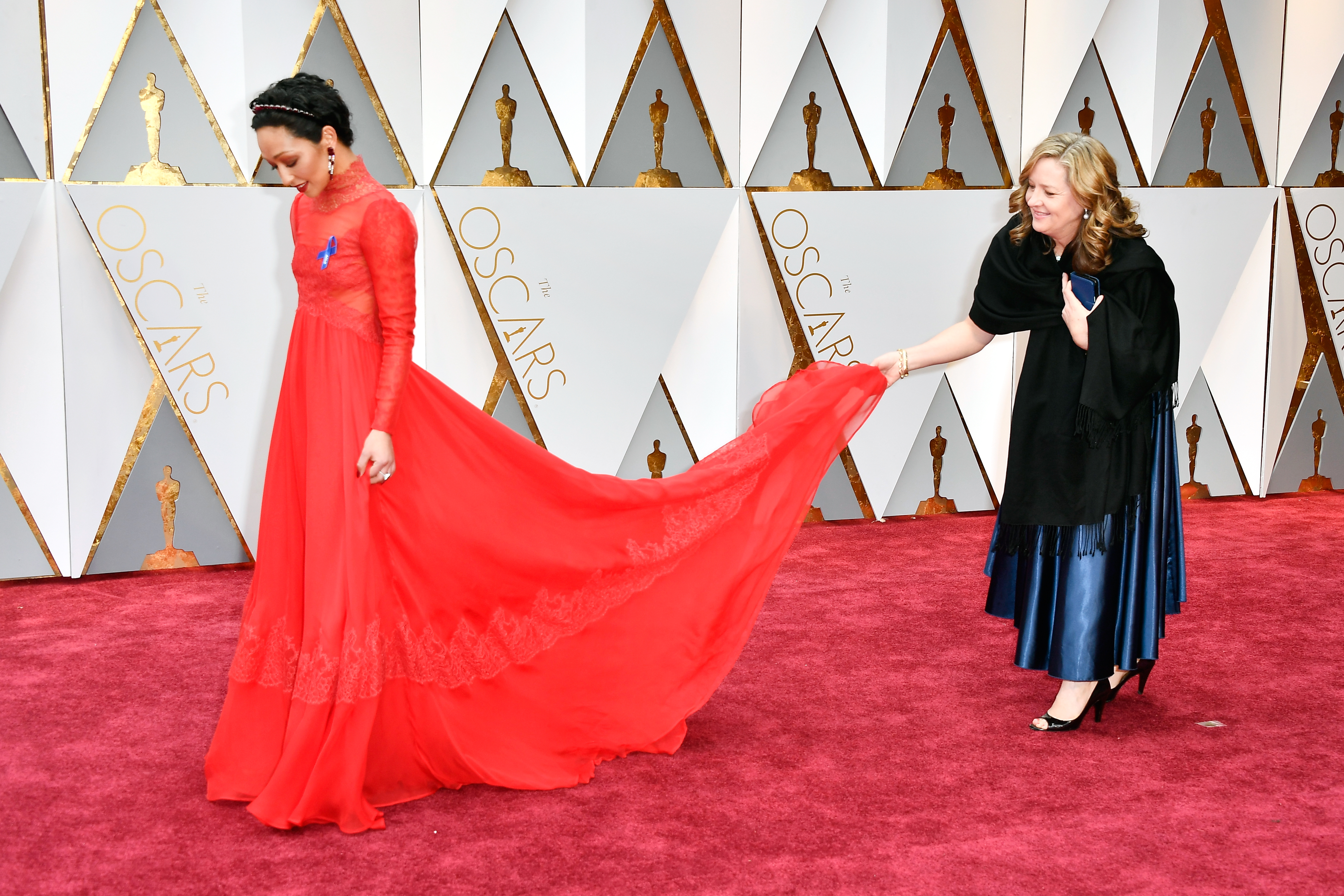 Ruth Negga on the Oscars red carpet with her ACLU blue ribbon