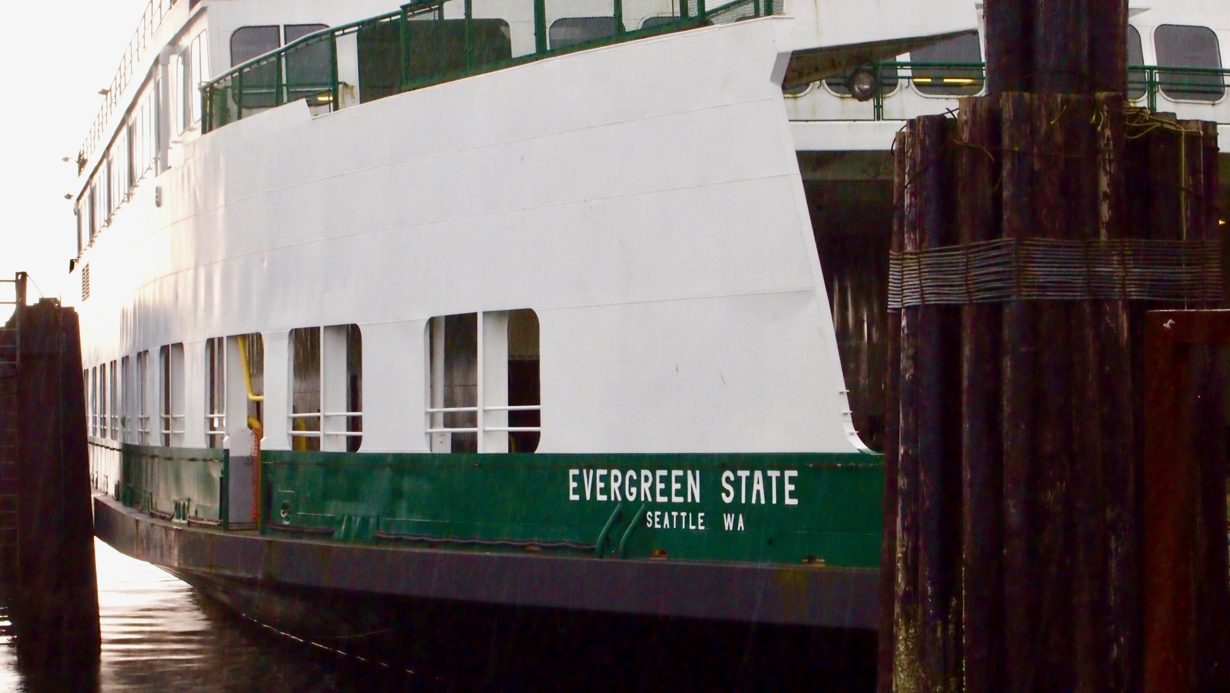 """Text on the hull of a ferry reads """"EVERGREEN STATE"""""""