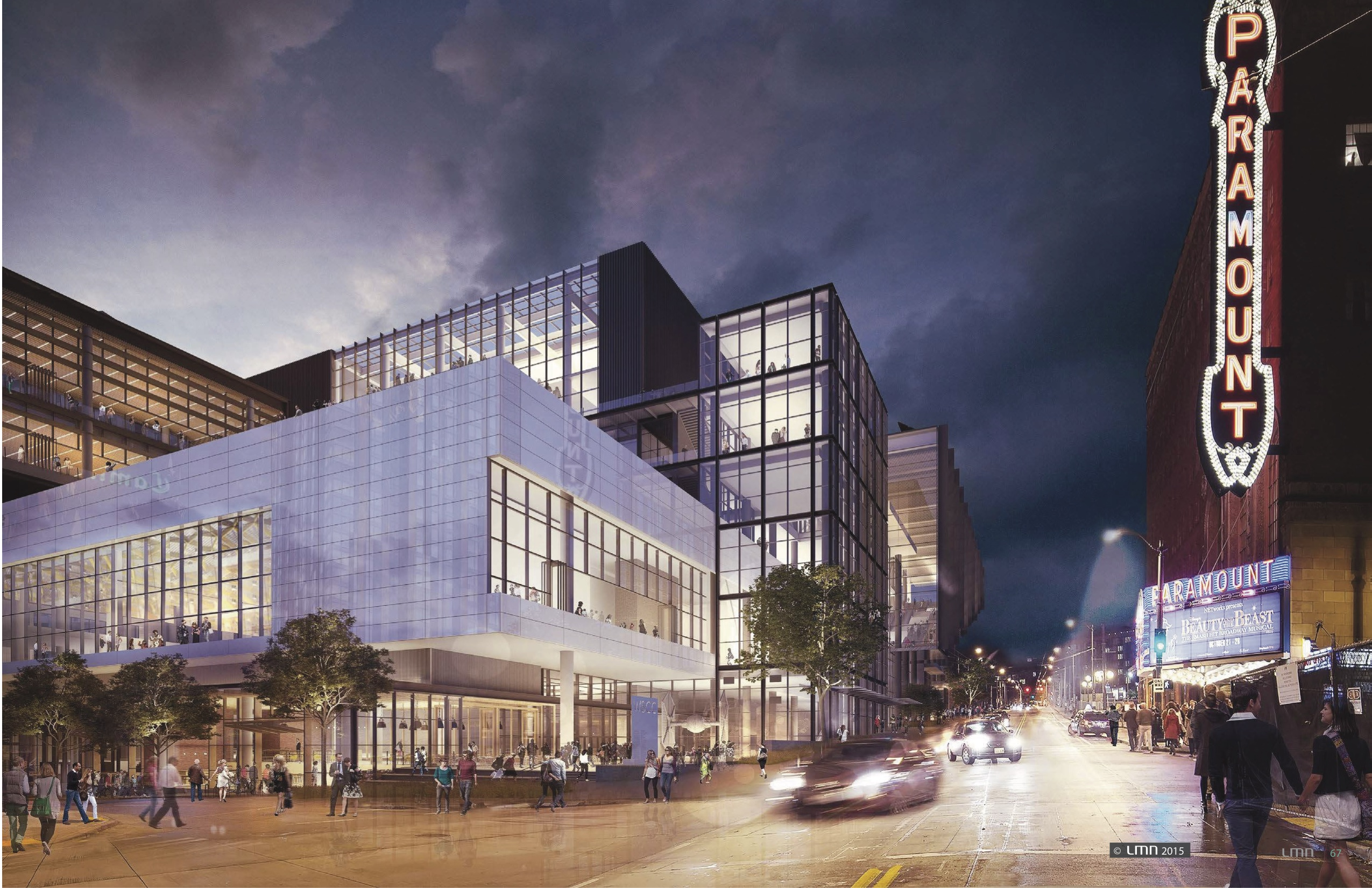 A rendering of a squat, glass building to the left of the existing Paramount Theater