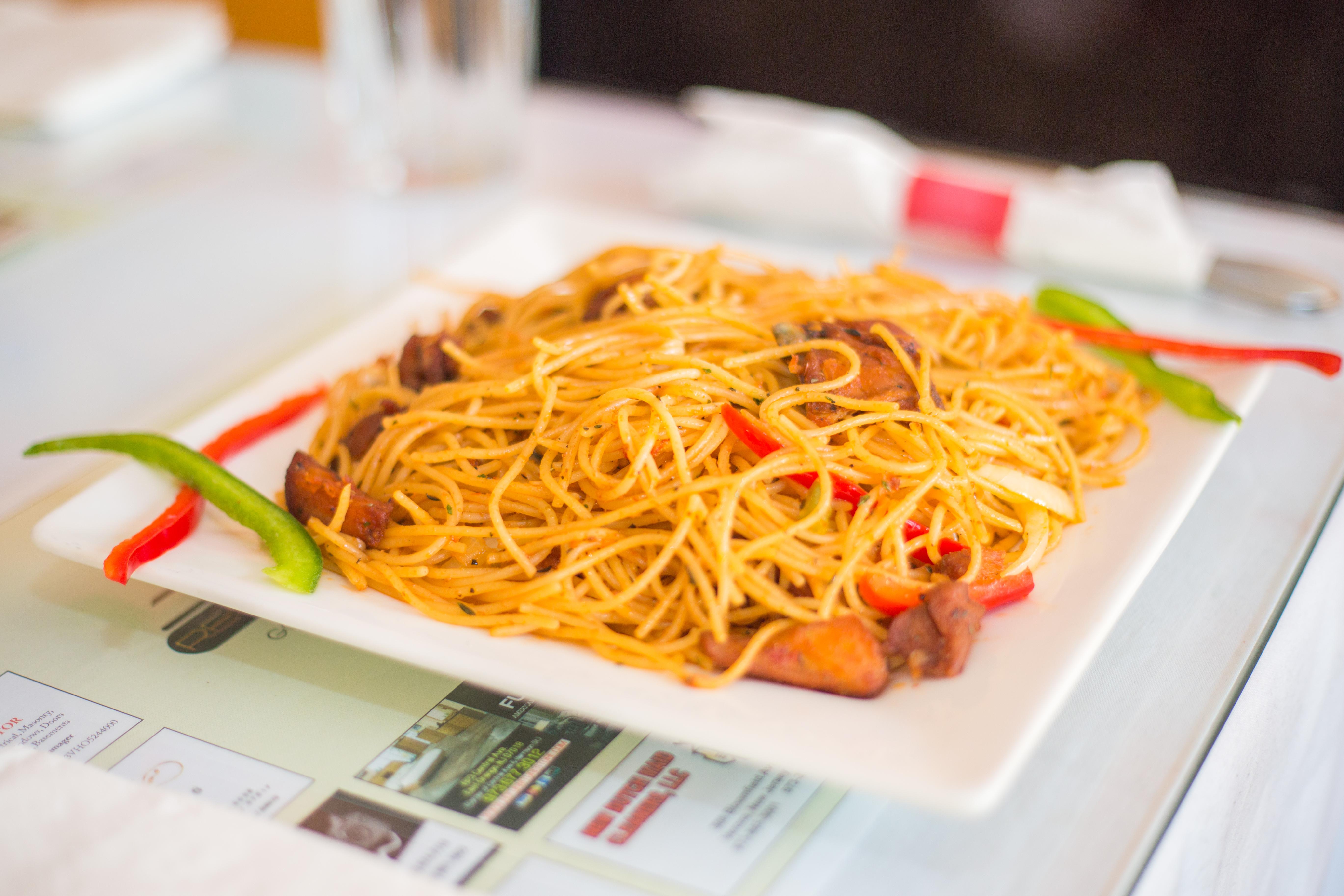 A plate of Haitian spaghetti.