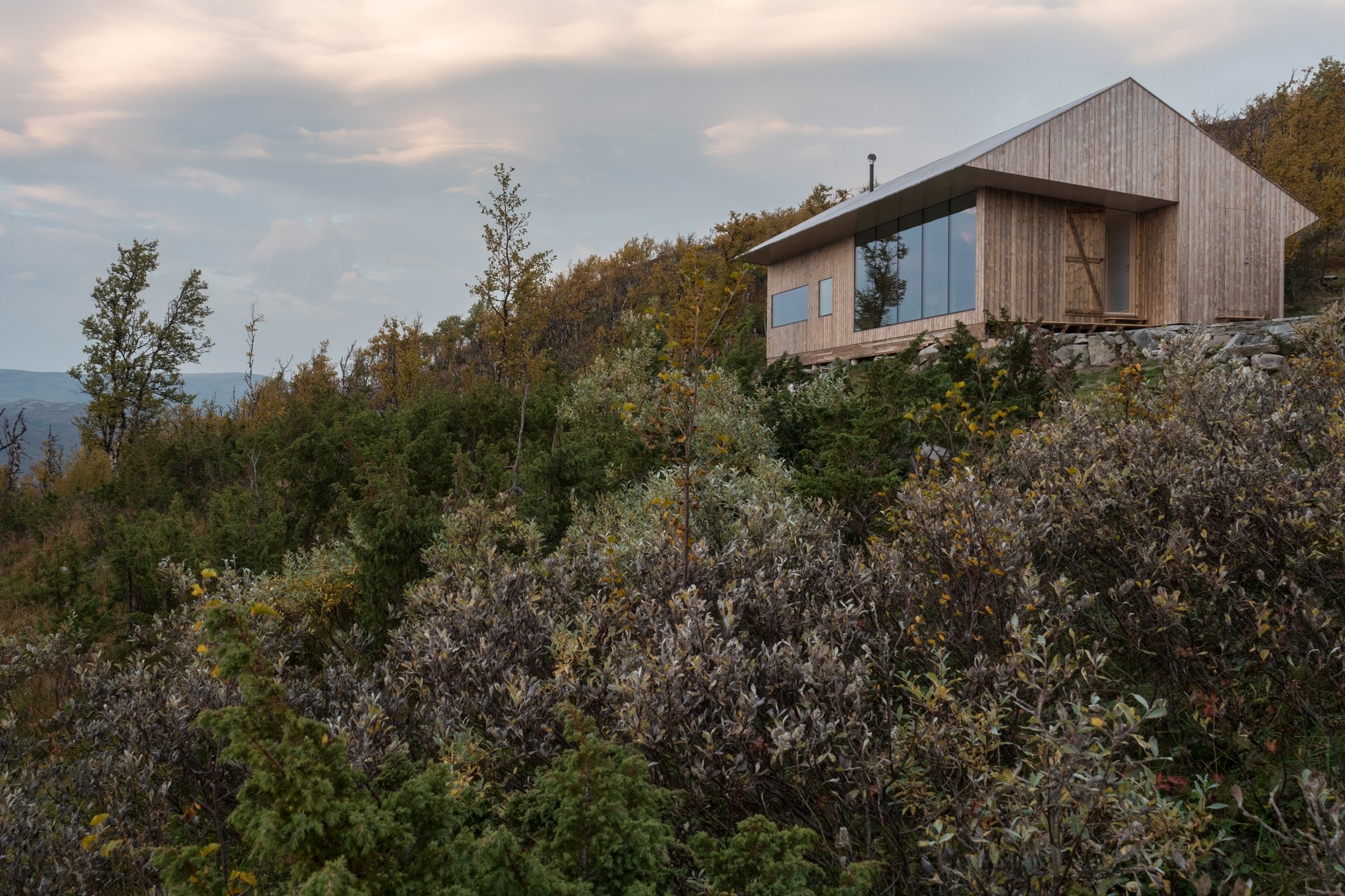 Pine cabin offers refuge for architect and his family in Norway