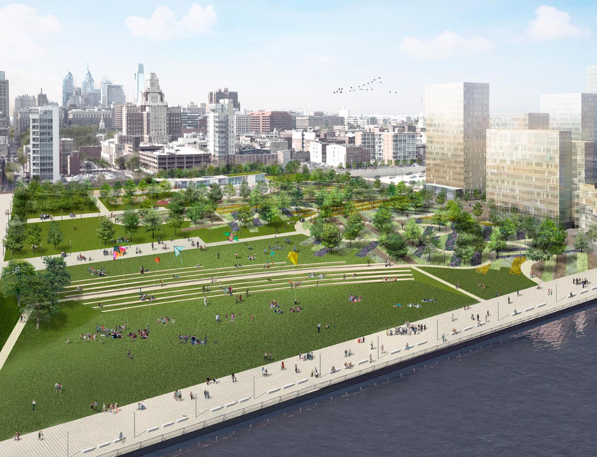 A rendering of a large park on the Delaware River waterfront in Philadelphia.