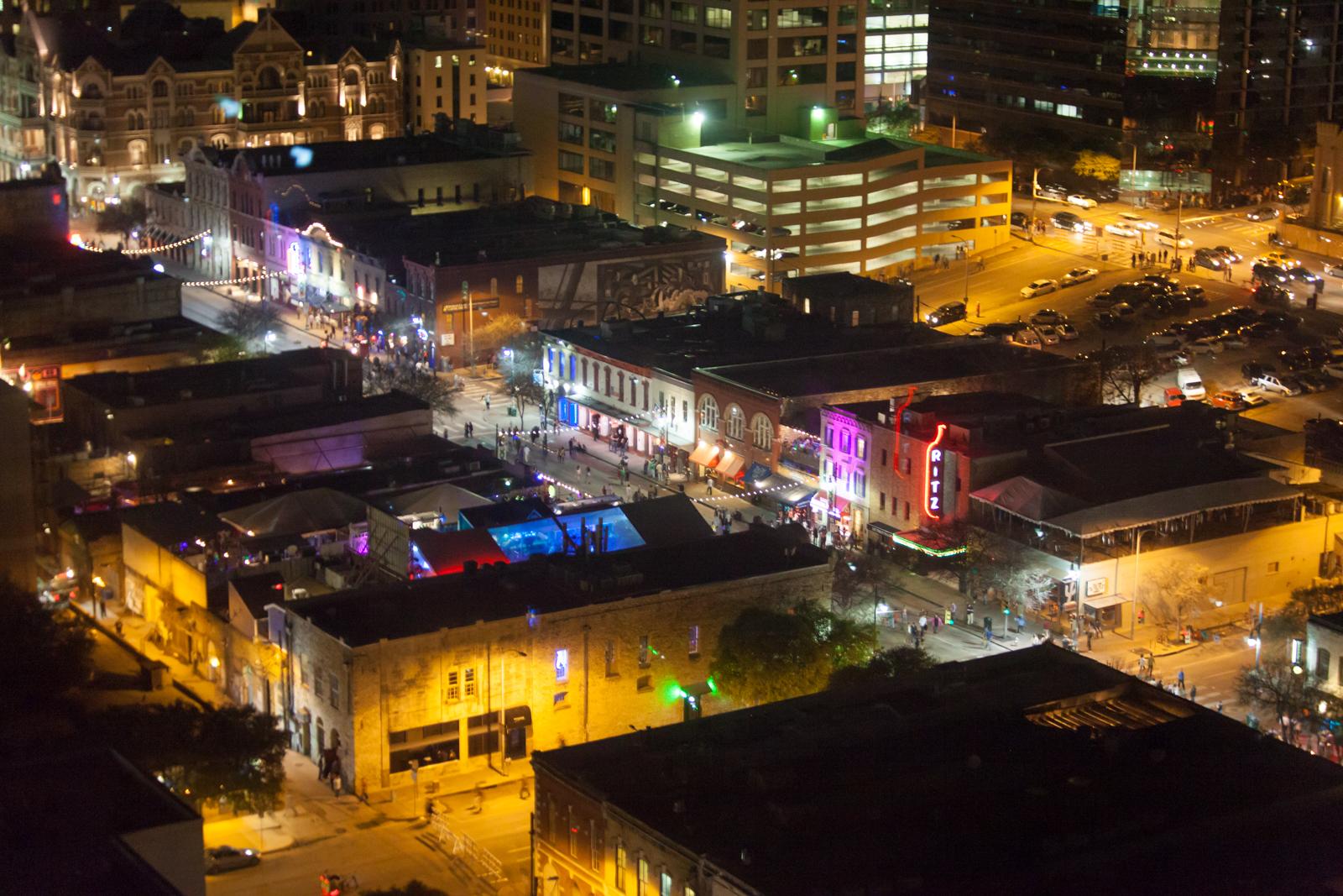 shot of Sixth Street in Austin