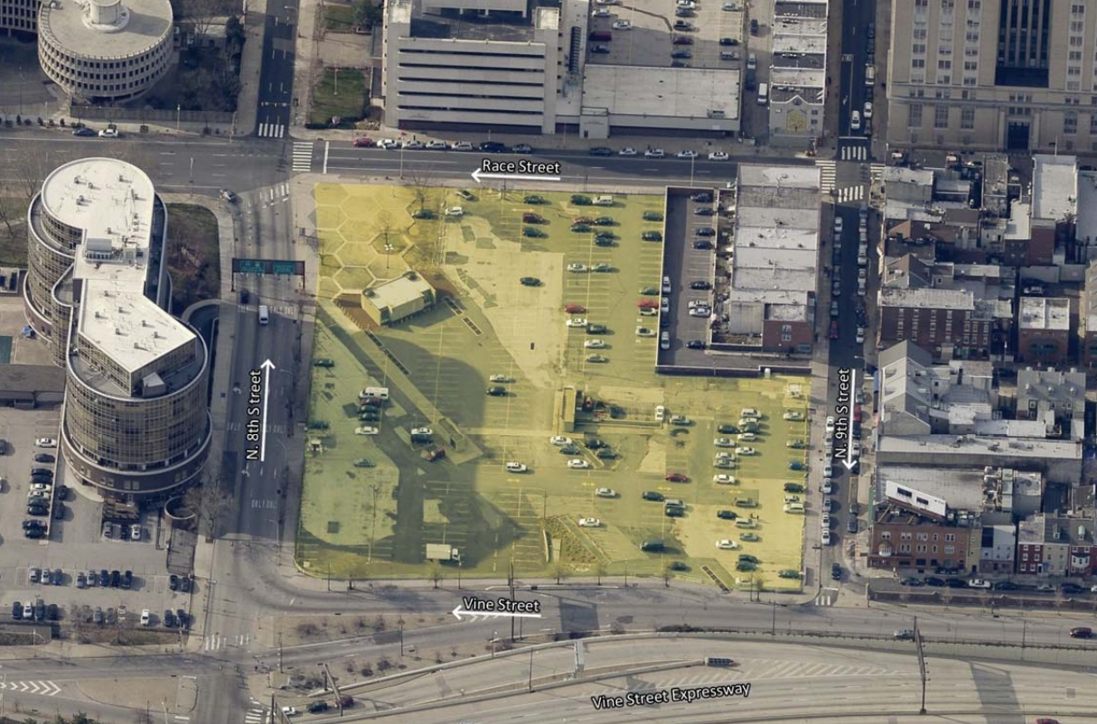 An aerial view of a parcel of land in Chinatown, Philadelphia that's available for purchase.