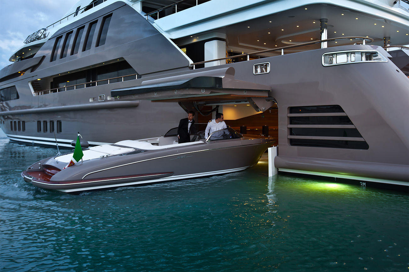 The 191-foot Jade's floating garage, which houses a tender