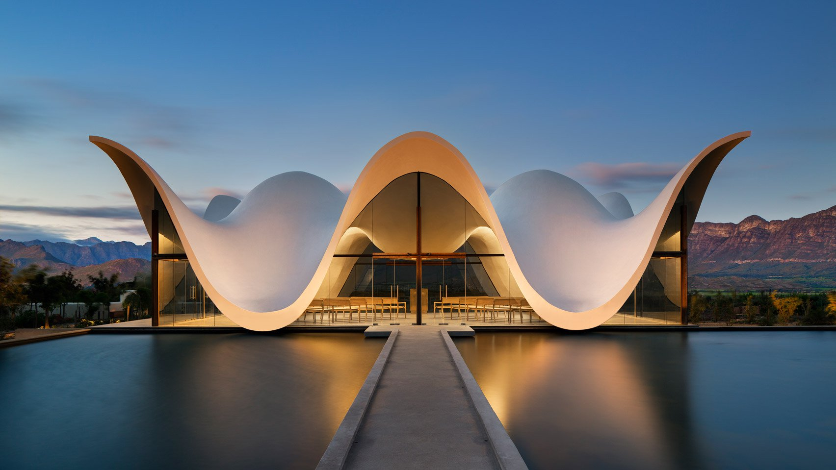 Bosjes Chapel in South Africa features a sculptural, undulating roof