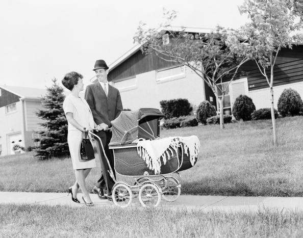 A suburban couple in a circa-1960 photos.