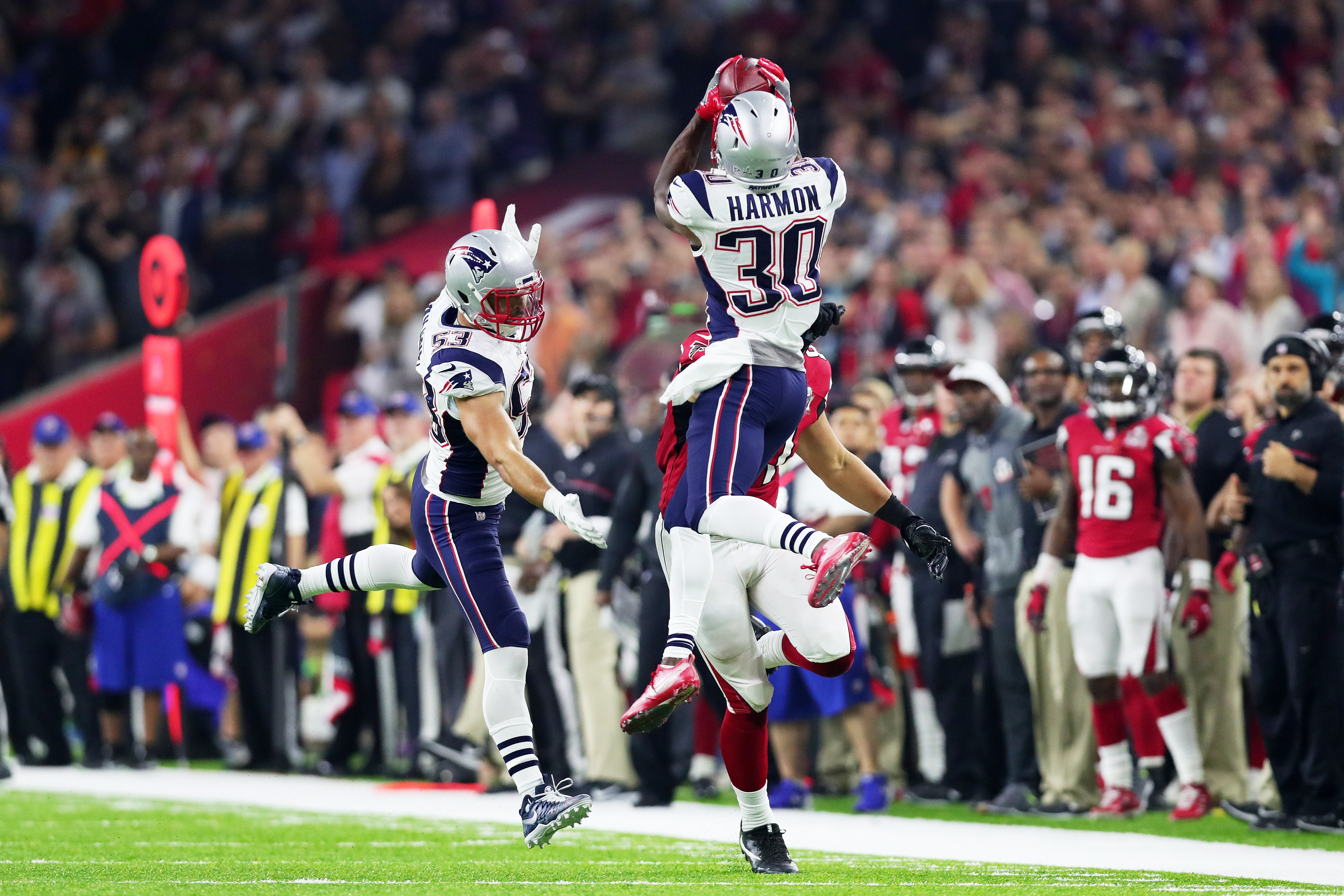 HOUSTON, TX - New England Patriots free safety Duron Harmon (30) nearly bags an interception off of an errant Matt Ryan throw in the fourth quarter against the Atlanta Falcons during Super Bowl 51 at NRG Stadium.