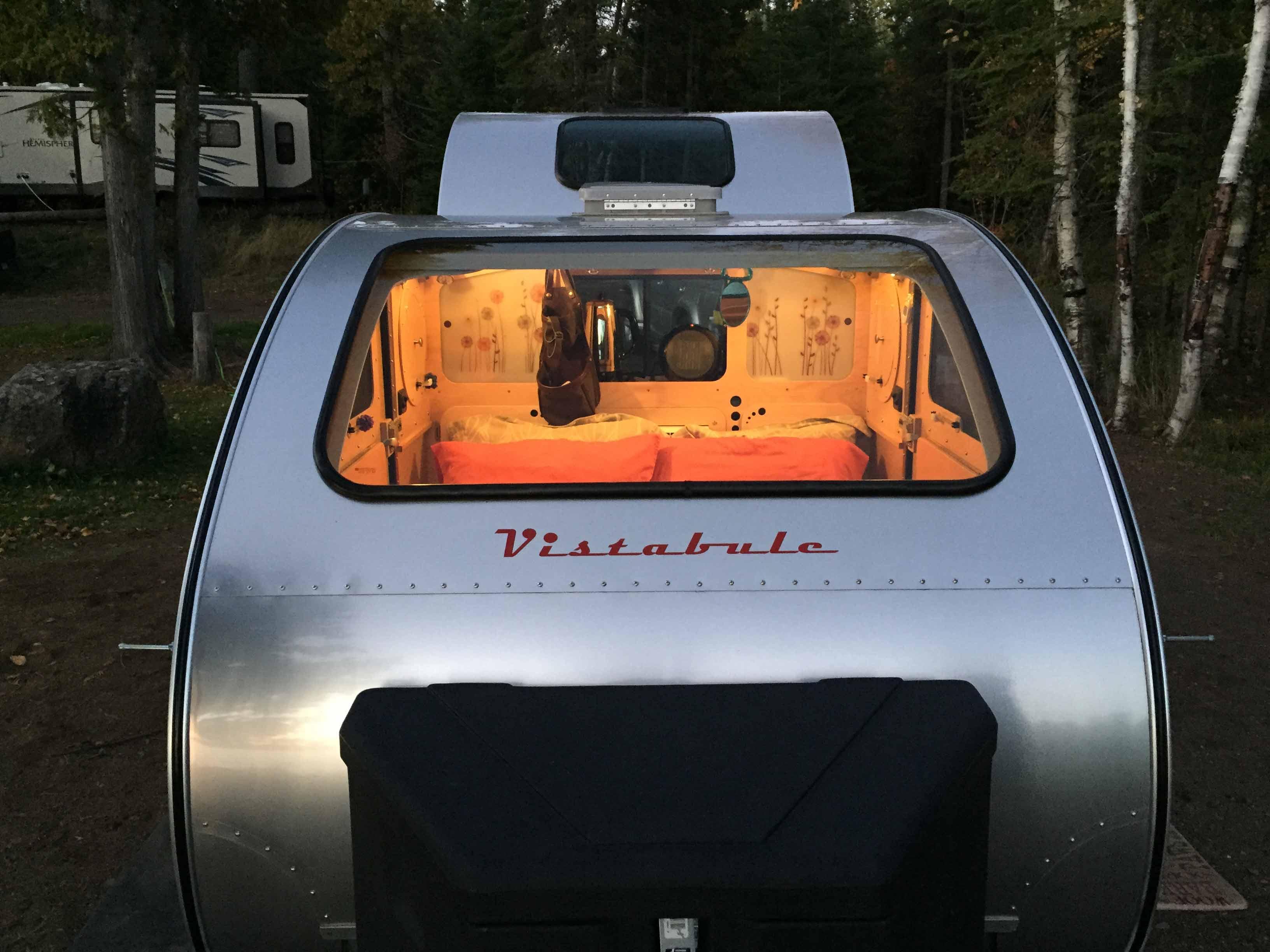 Tiny teardrop trailer has huge windows for stargazing