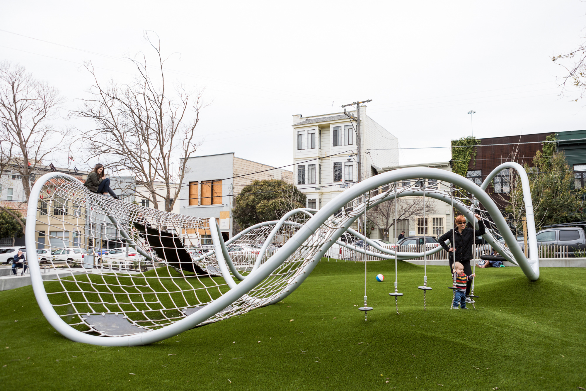 A San Francisco playground with a curved jungle gym.