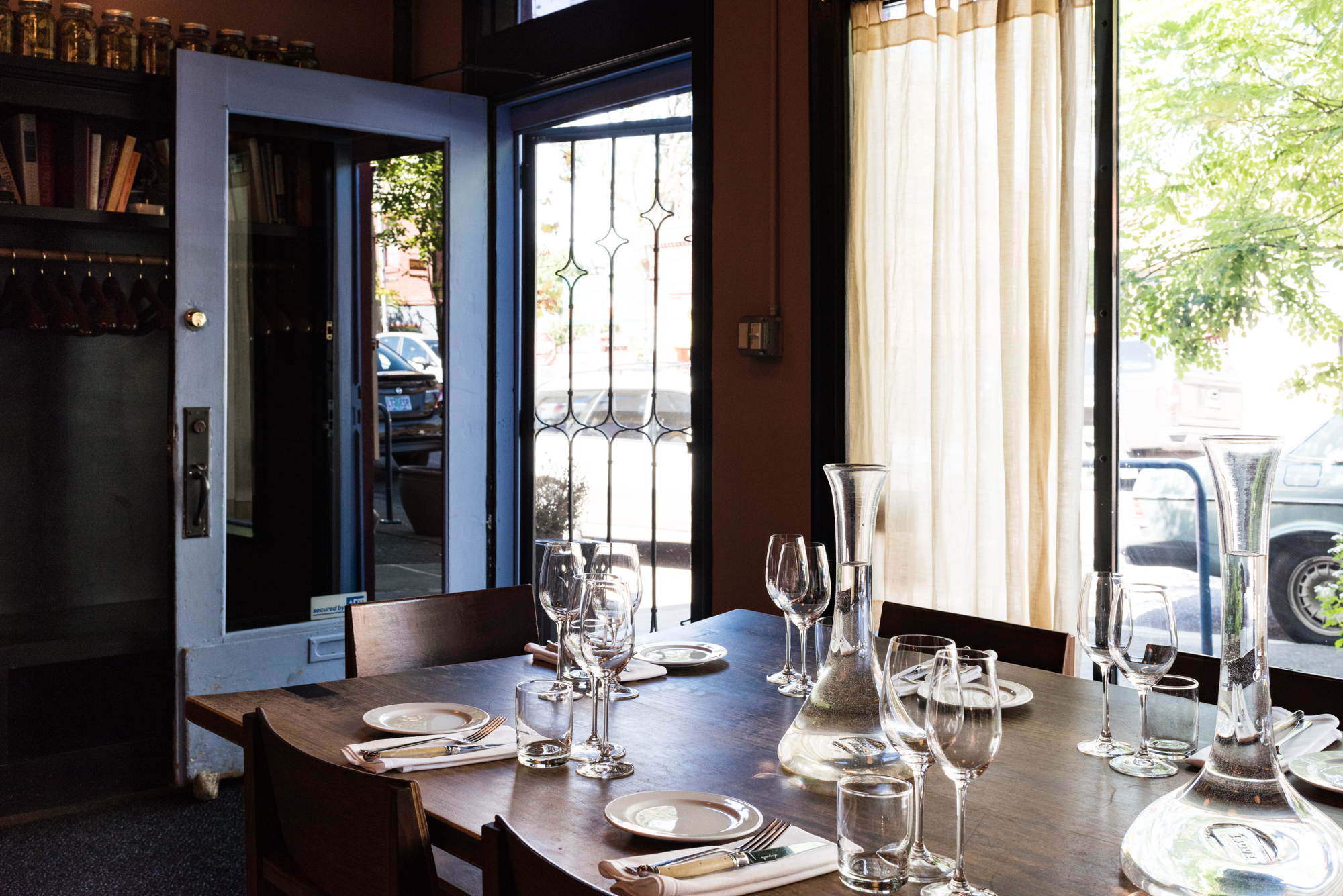 A shot of one of Beast's communal tables, which sits in the window