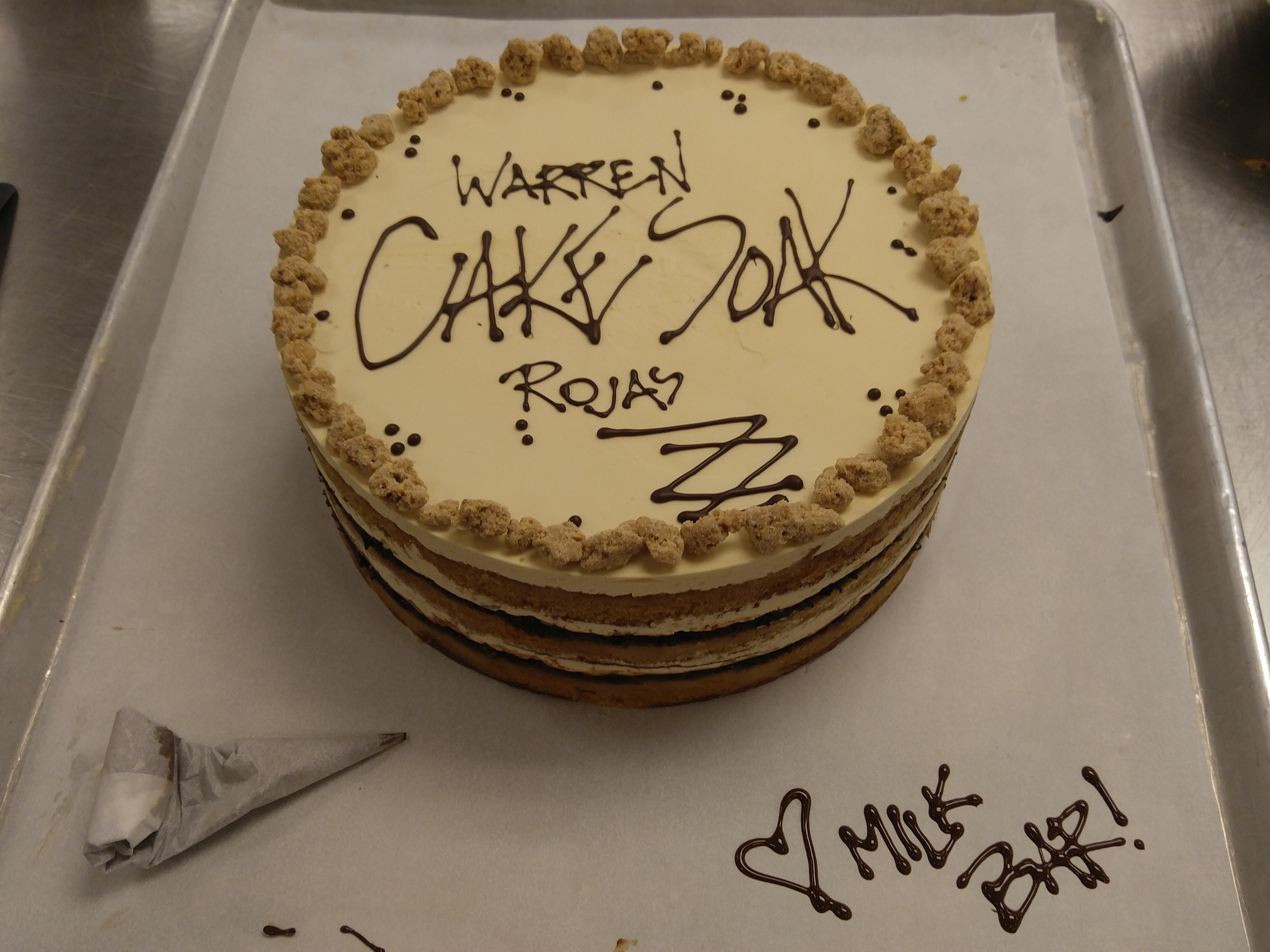 The custom salted pretzel cake Christina Tosi made for Eater at Milk Bar DC.