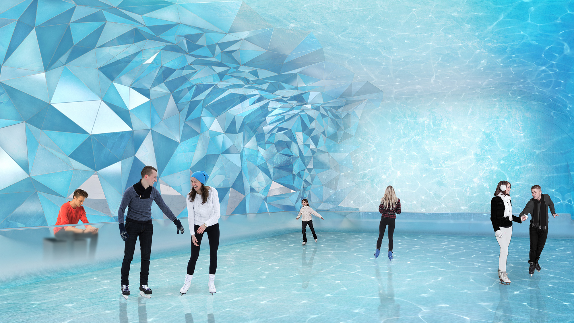 Rendering of an indoor ice skating rink, modeled after an underwater cave