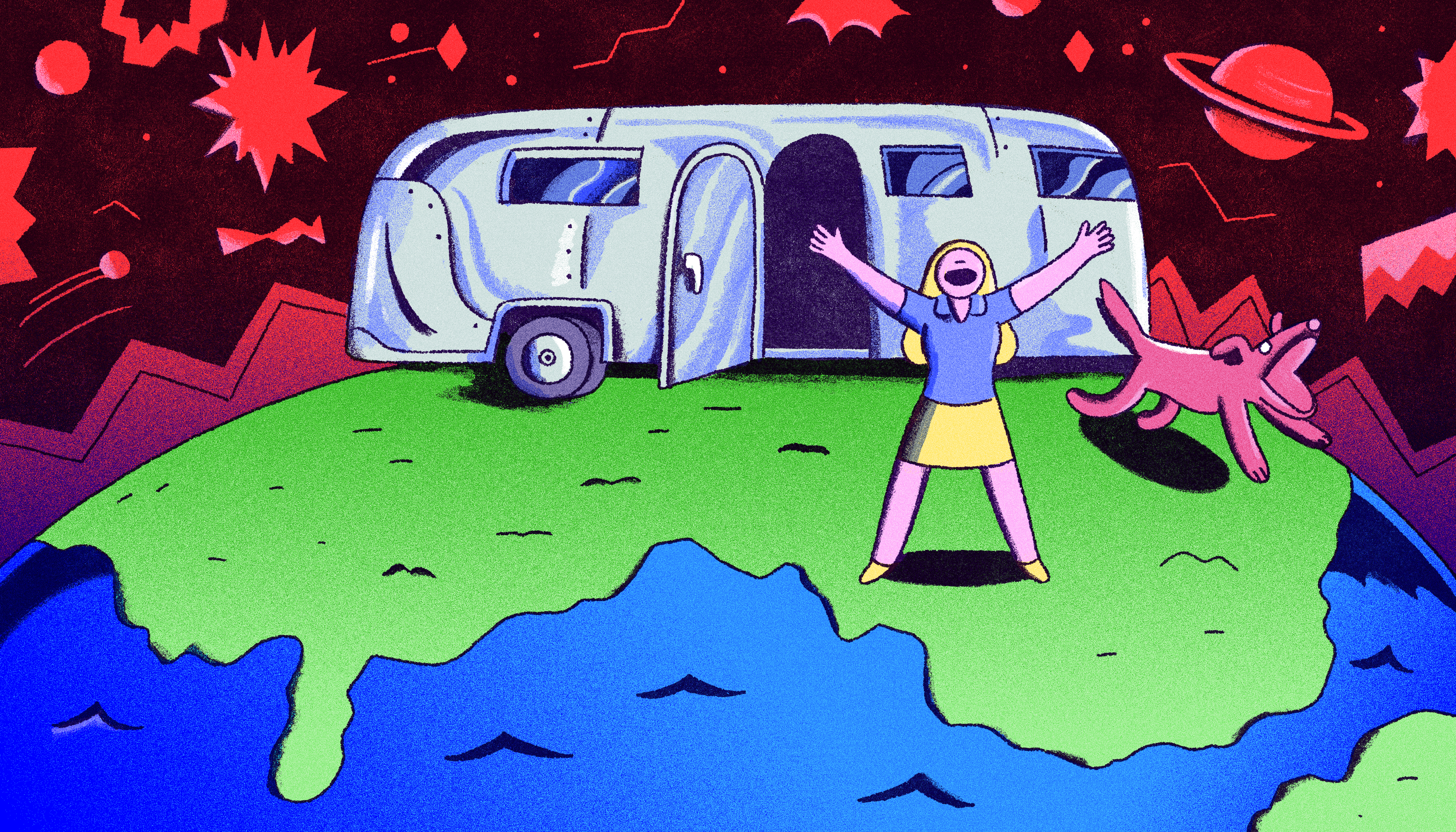 A woman happily throws her arms in the air outside of the front door of her metallic airstream camper. The world is her front yard and she exudes a sense of freedom. Illustration.