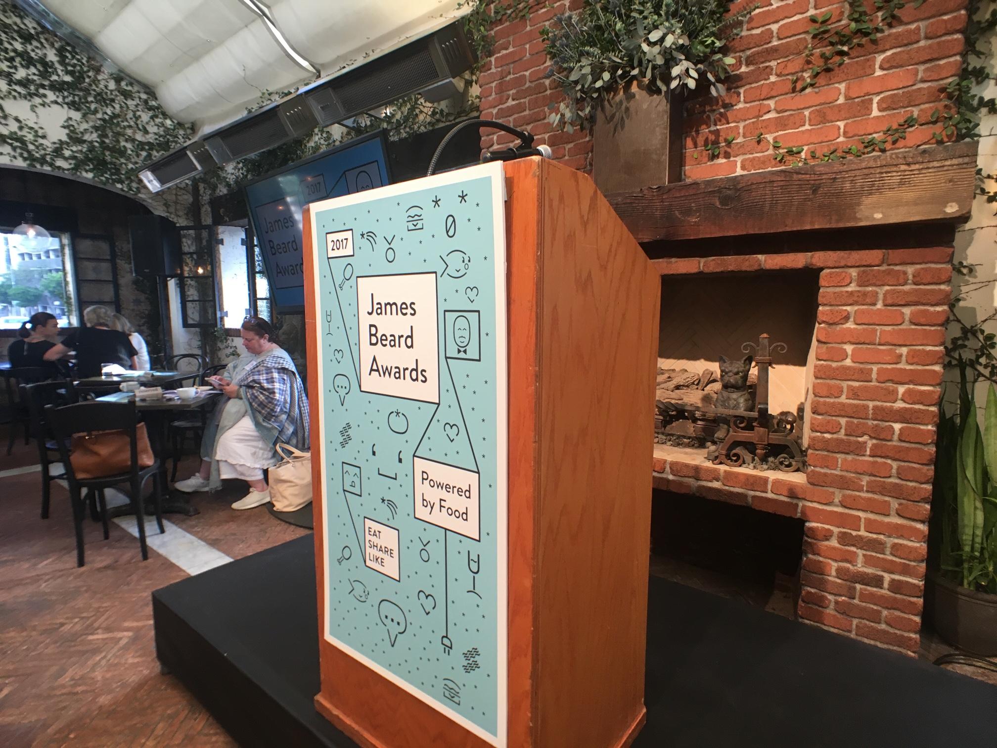 A James Beard Awards podium
