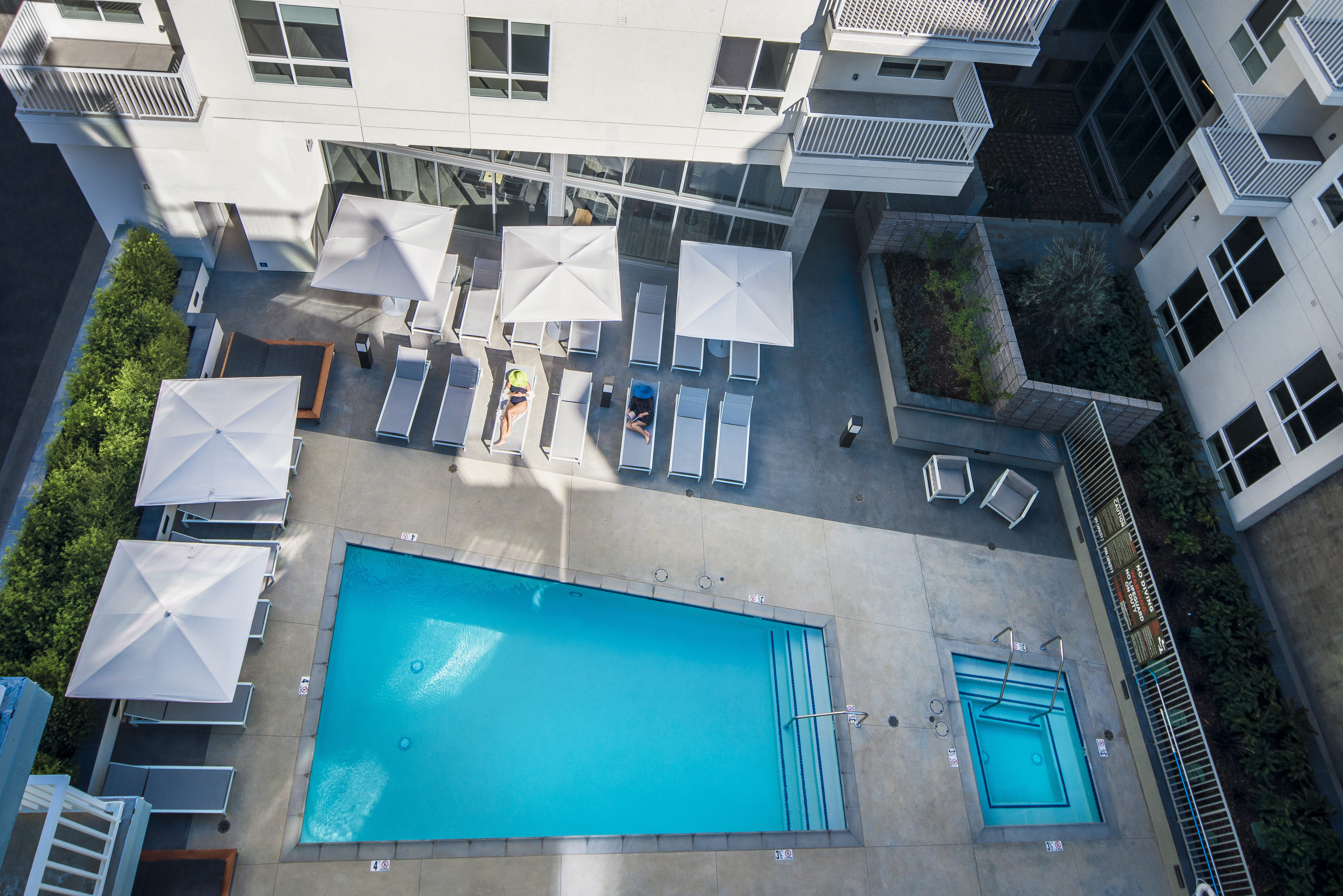 View of pool from above