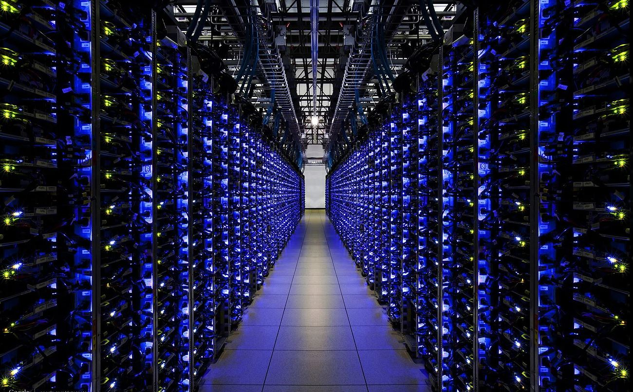 Looking down a row of servers.