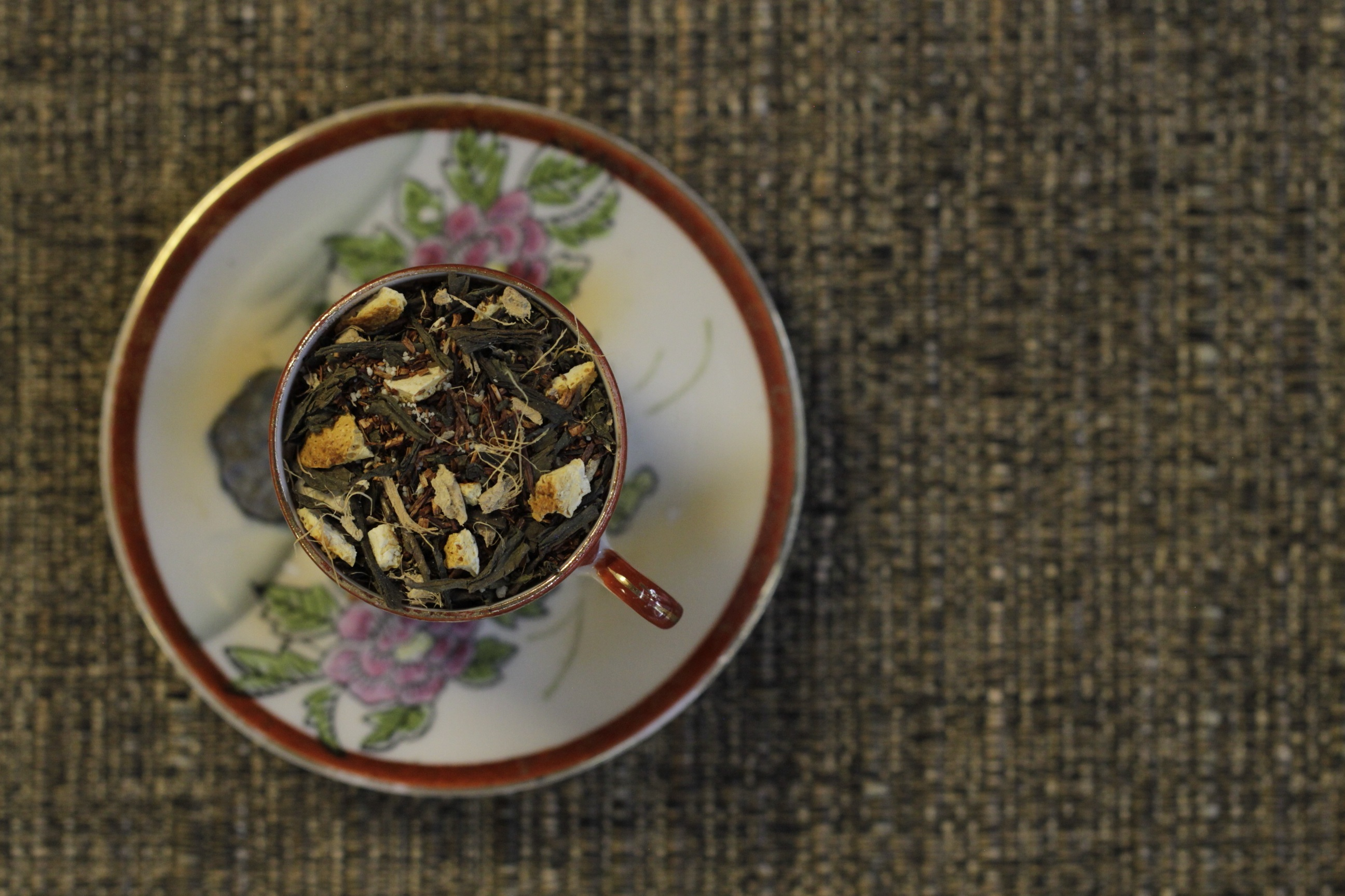 A top-down view of a cup of tea from Friday Afternoon