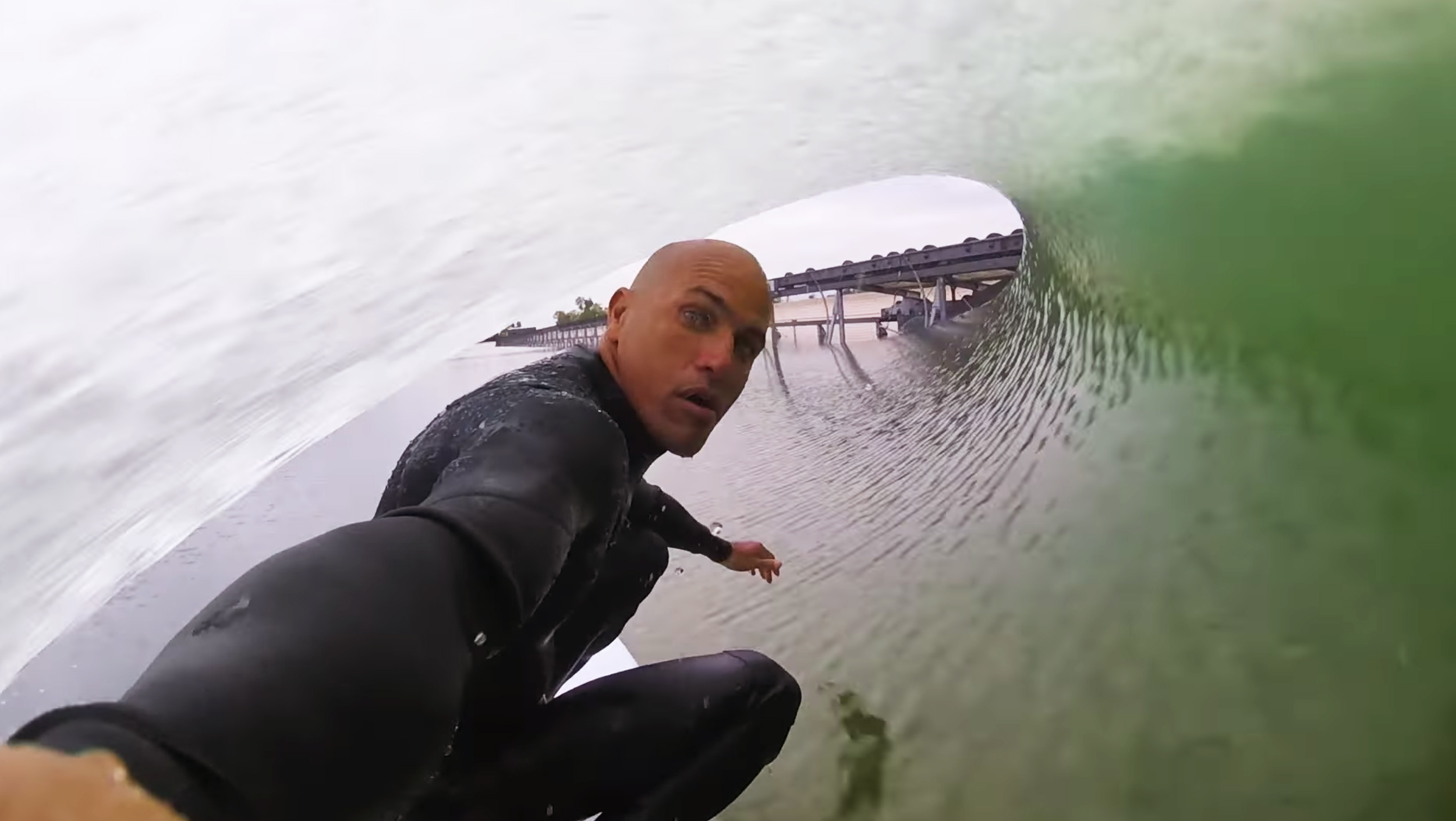 Kelly Slater riding an artificial wave in California