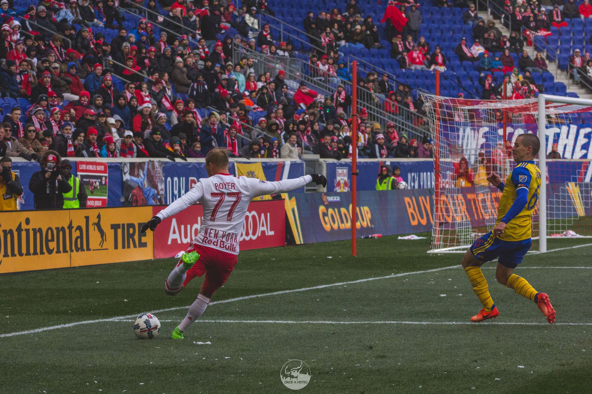 New York Red Bulls' Daniel Royer crosses the ball during a match against Colorado Rapids; March 11, 2017