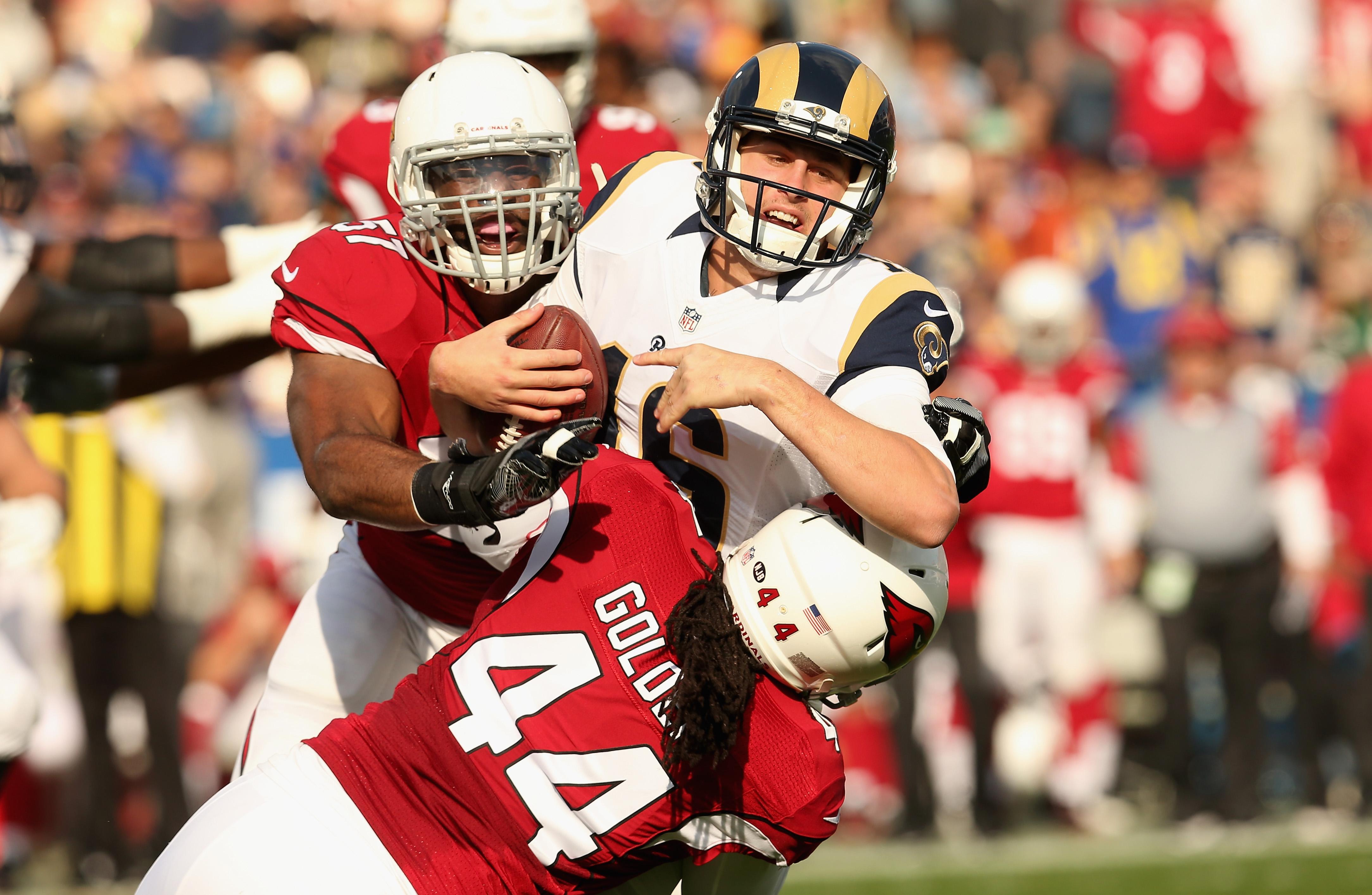 Los Angeles Rams QB Jared Goff sacked