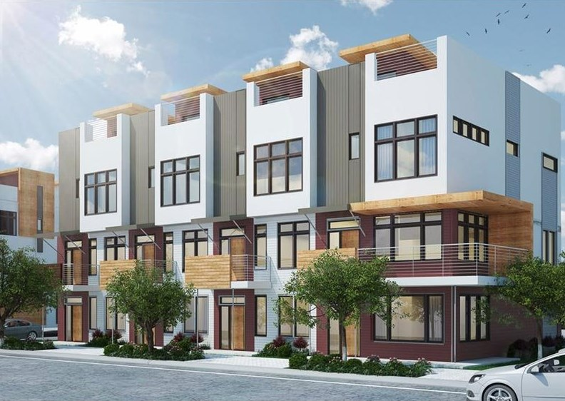 Renderings of a new pocket of townhouses in Lake Claire, Atlanta.
