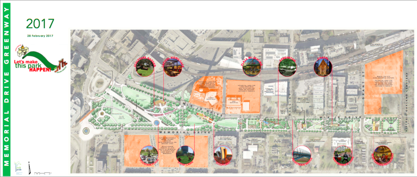 The finalized overall concept for the Memorial Drive Greenway.
