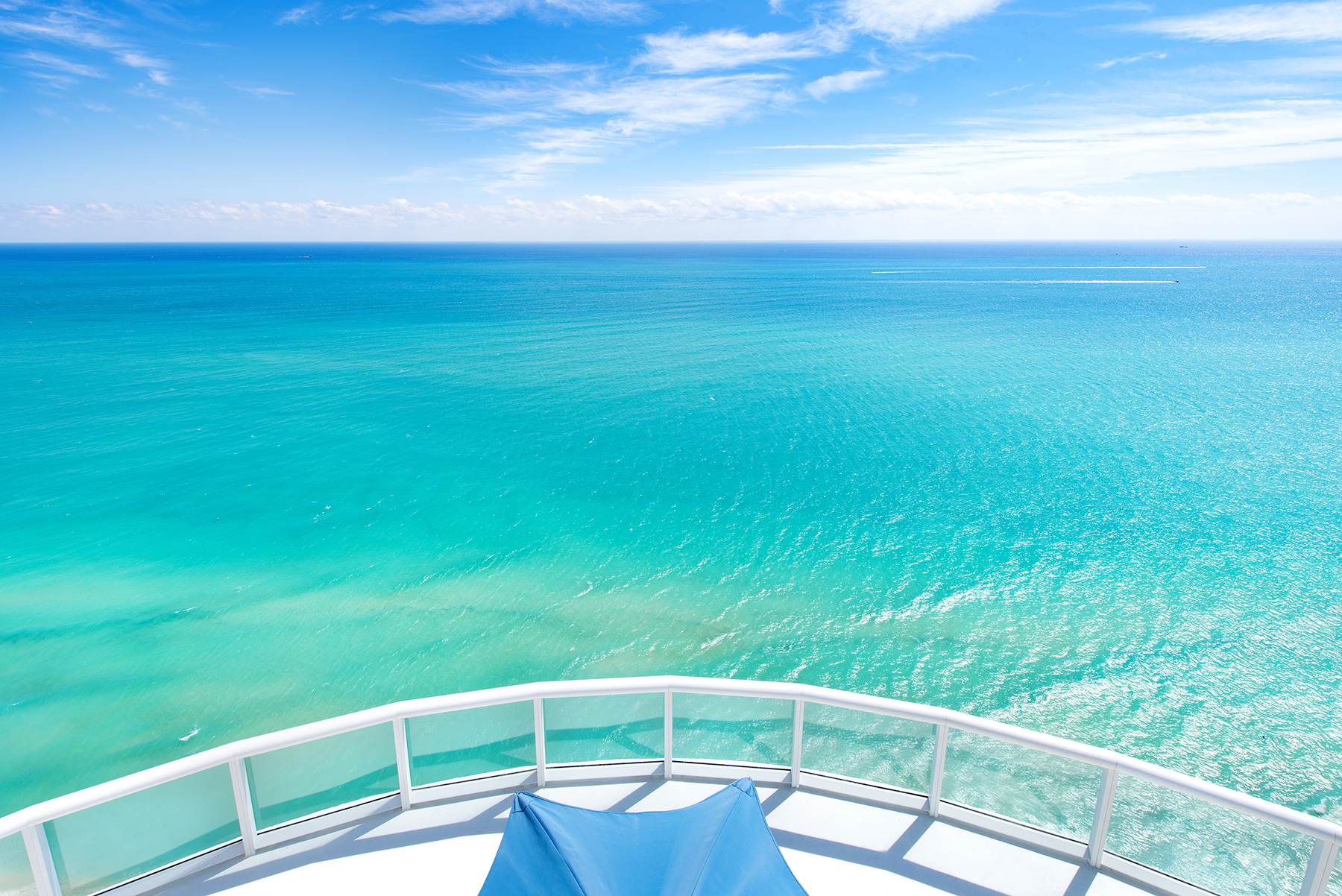 The terrace view from Akoya Tower Suite 2 in Miami Beach with a pure ocean view