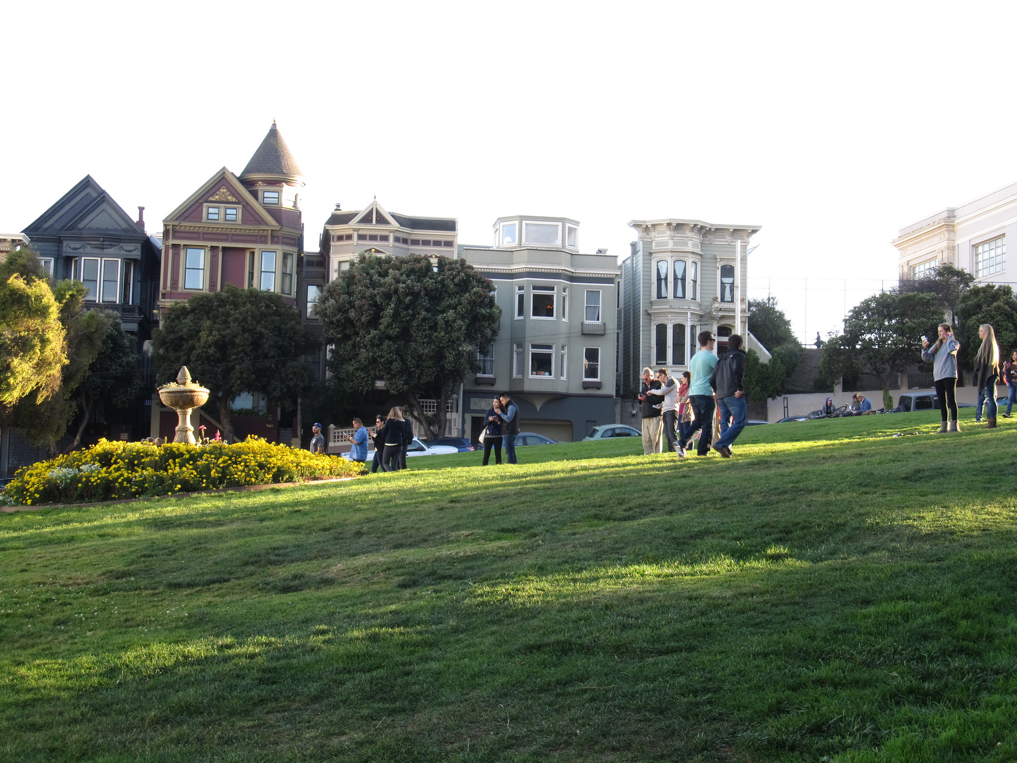 A shady day in Alamo Square, with Victorian houses in the background.