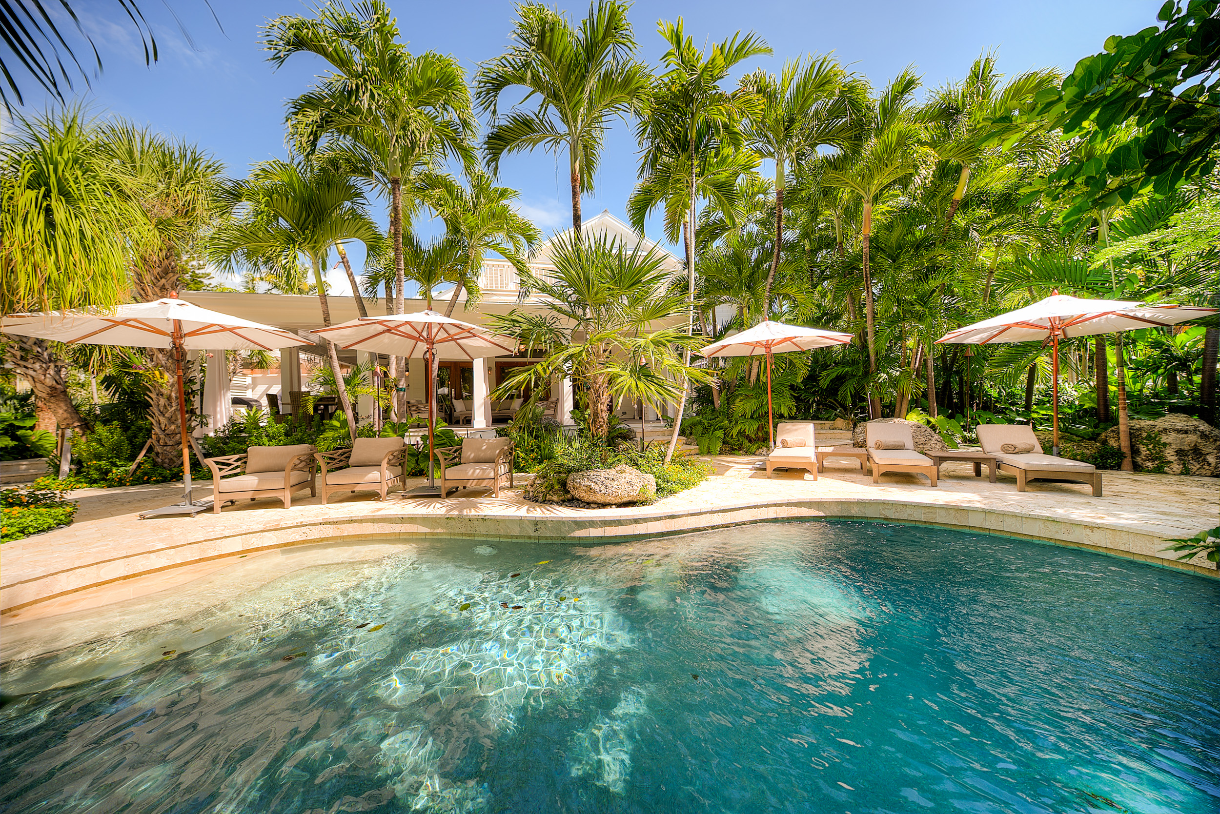 A lush backyard in key west with tropical gradens and a heated pool