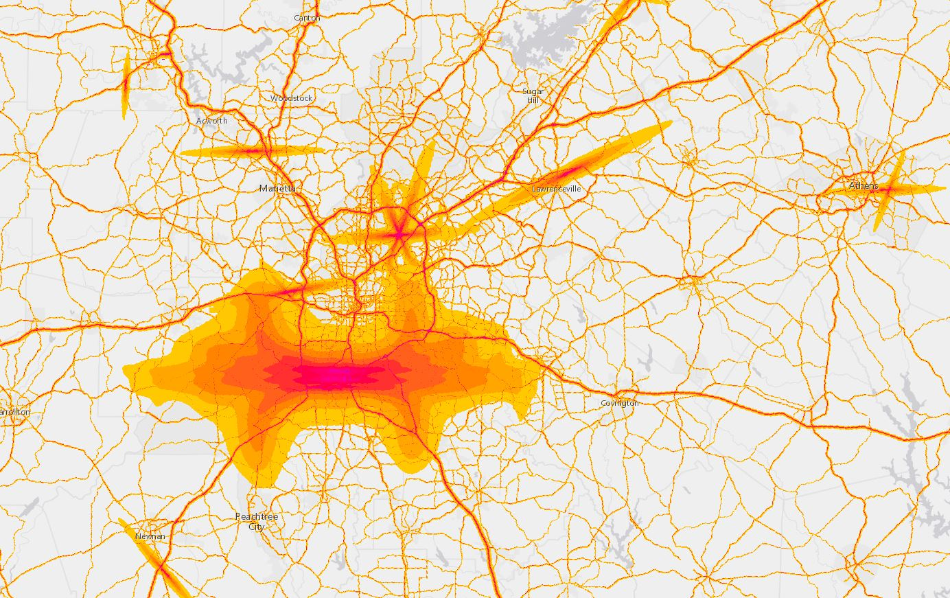 Map of greater Atlanta, with major highways and airports clearly visible in red and yellow, representing noise levels.