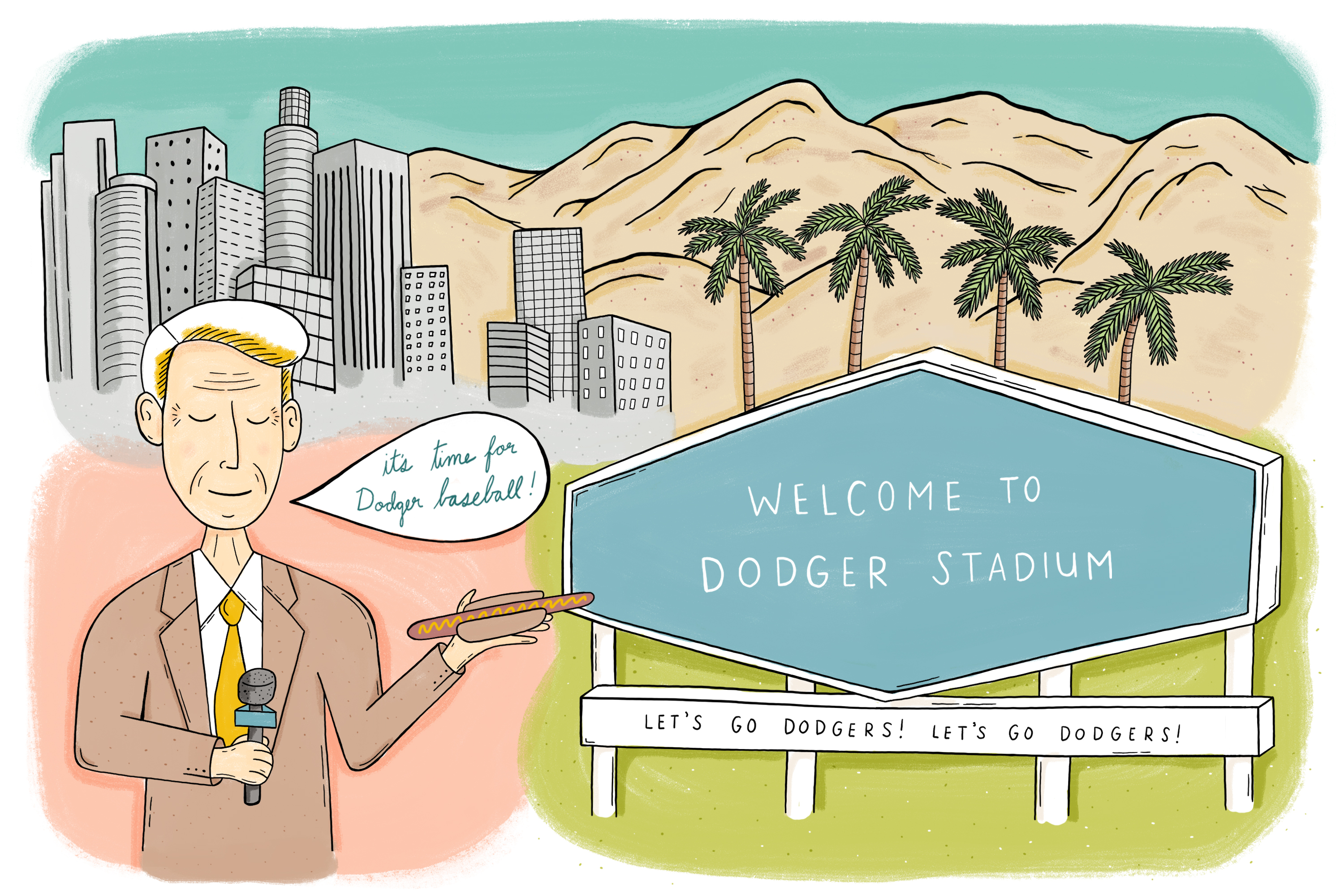An illustration that captures the spirit of Dodger stadium with a drawing of Vin Scully holding a hotdog, next to the hexagonal-shaped score board, both are framed by the Downtown skyline, San Gabriel Mountains, and palm trees.