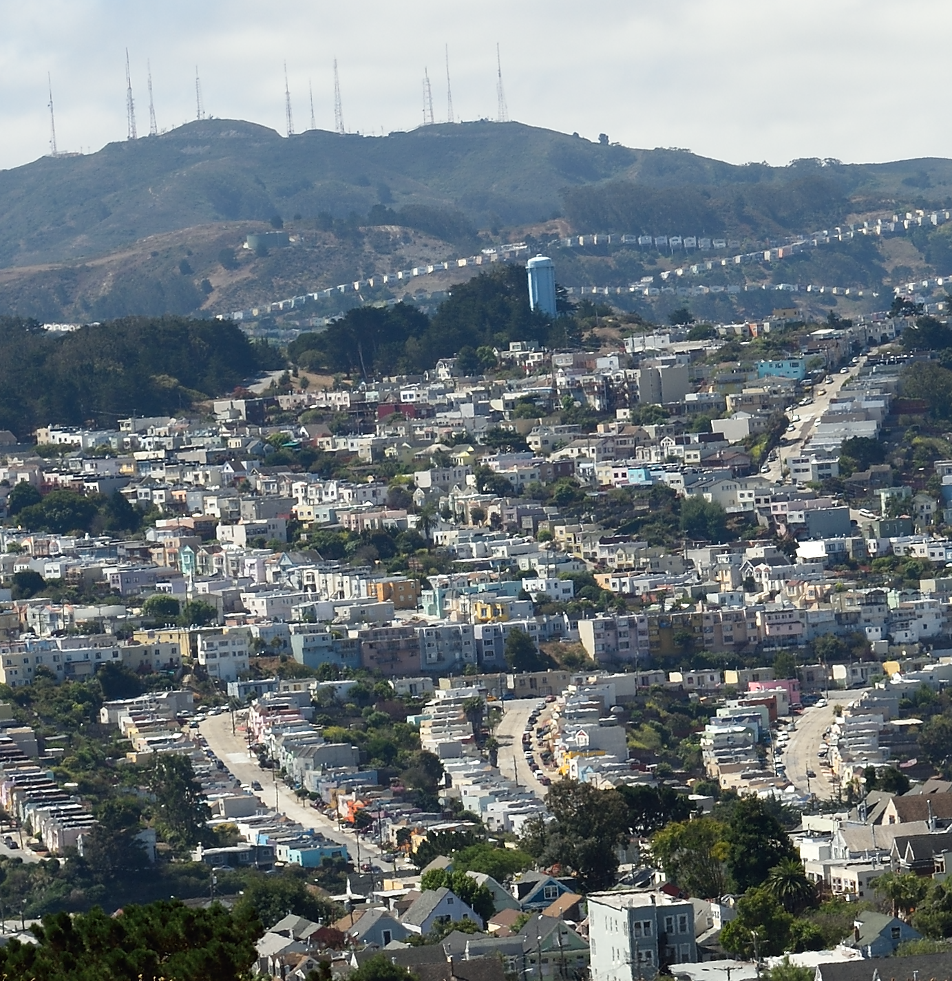 Facing the Excelsior from Bernal Heights Park, with the blue water tower on the horizon.