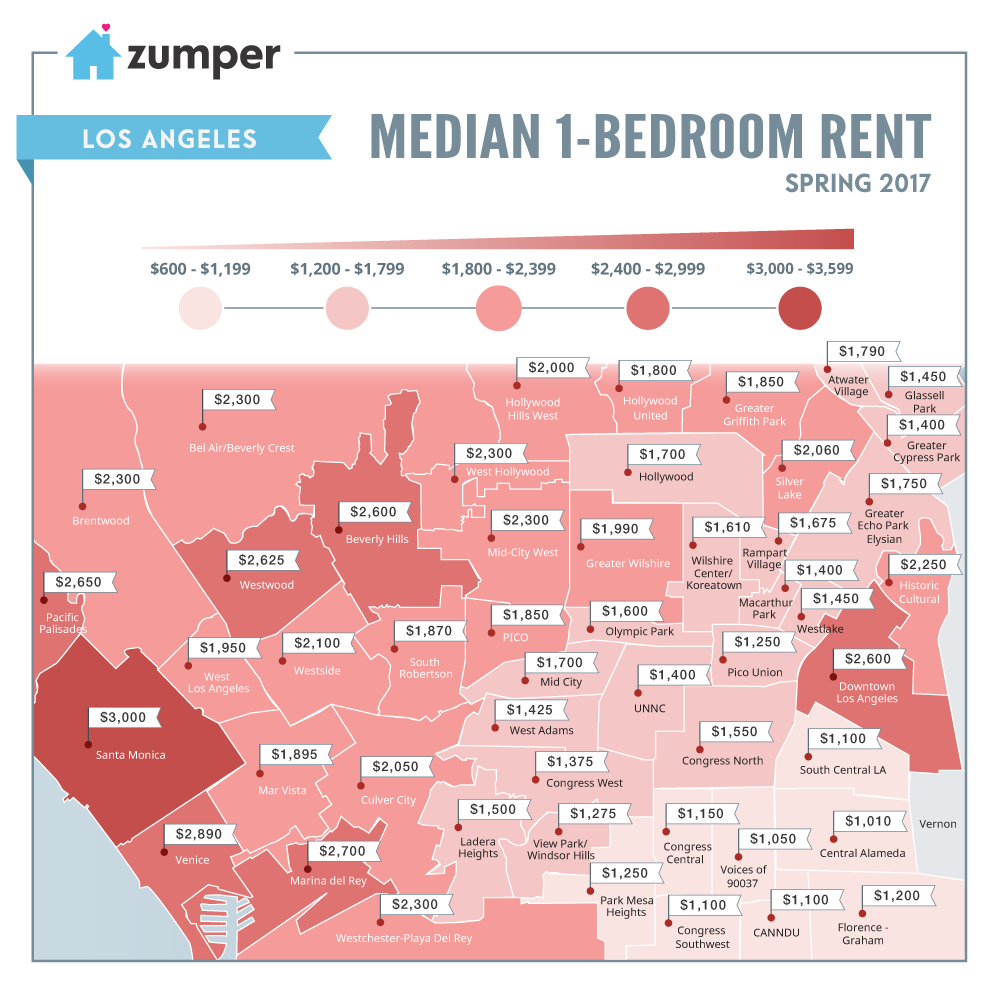 Map showing one-bedroom rental prices in LA