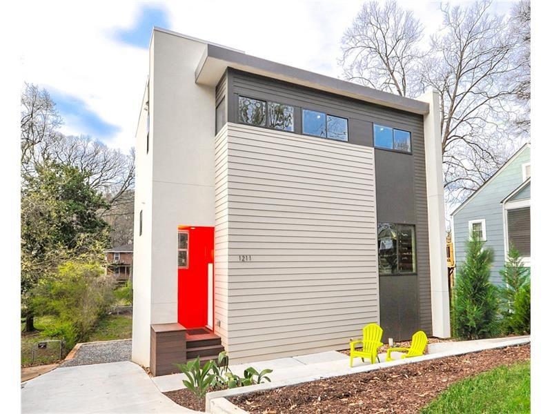 A new boxier modern home in the Edgewood neighborhood of Atlanta.