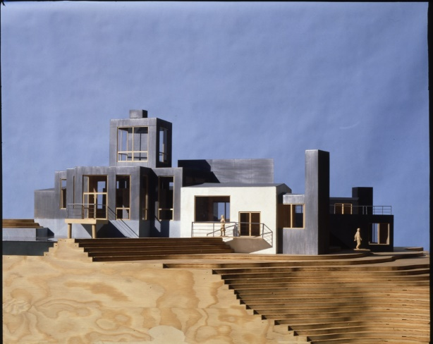 A model of a ouse with multiple blocky volumes.