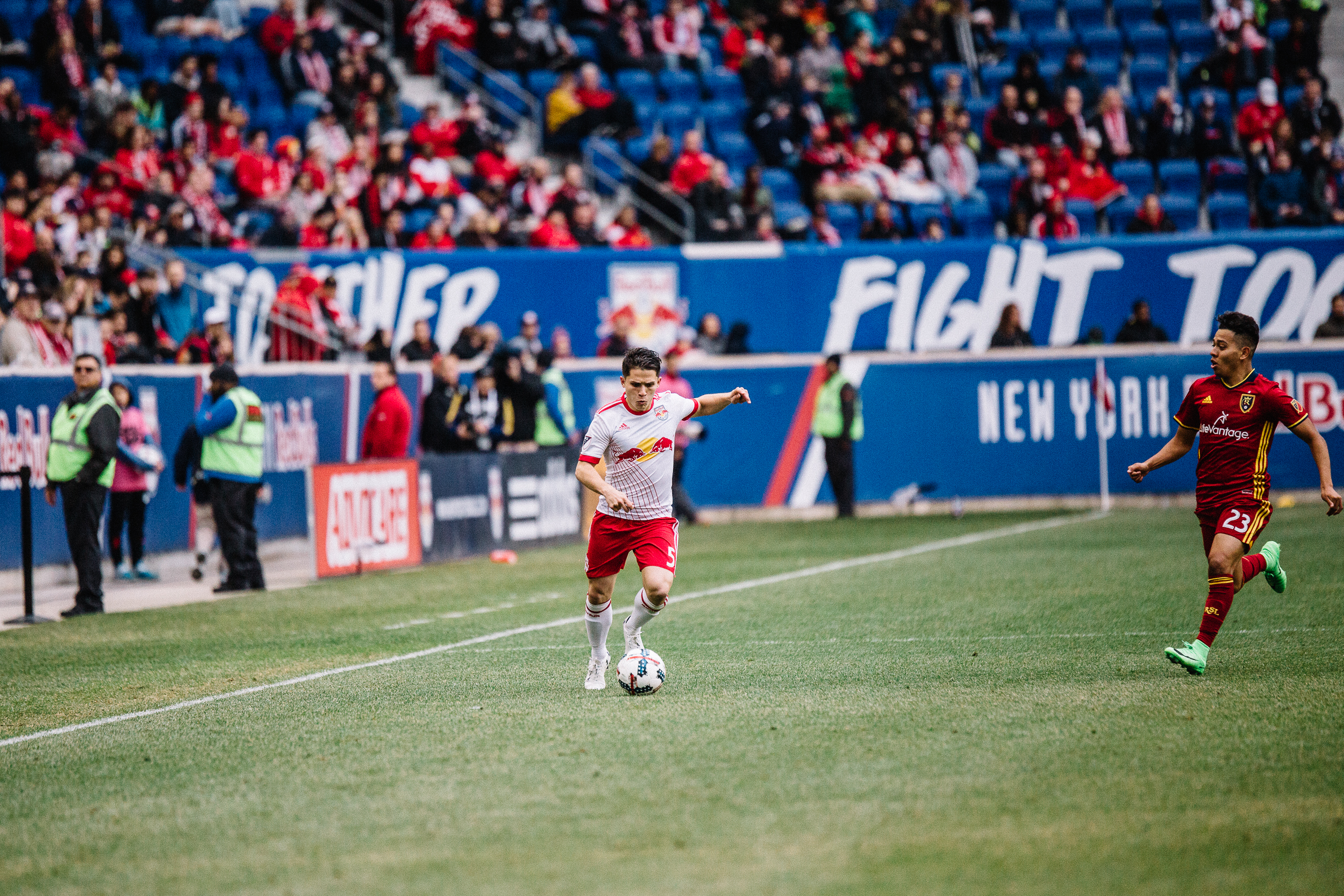 Connor Lade prepares to pass the ball for New York Red Bulls against Real Salt Lake at Red Bull Arena; March 25, 2017